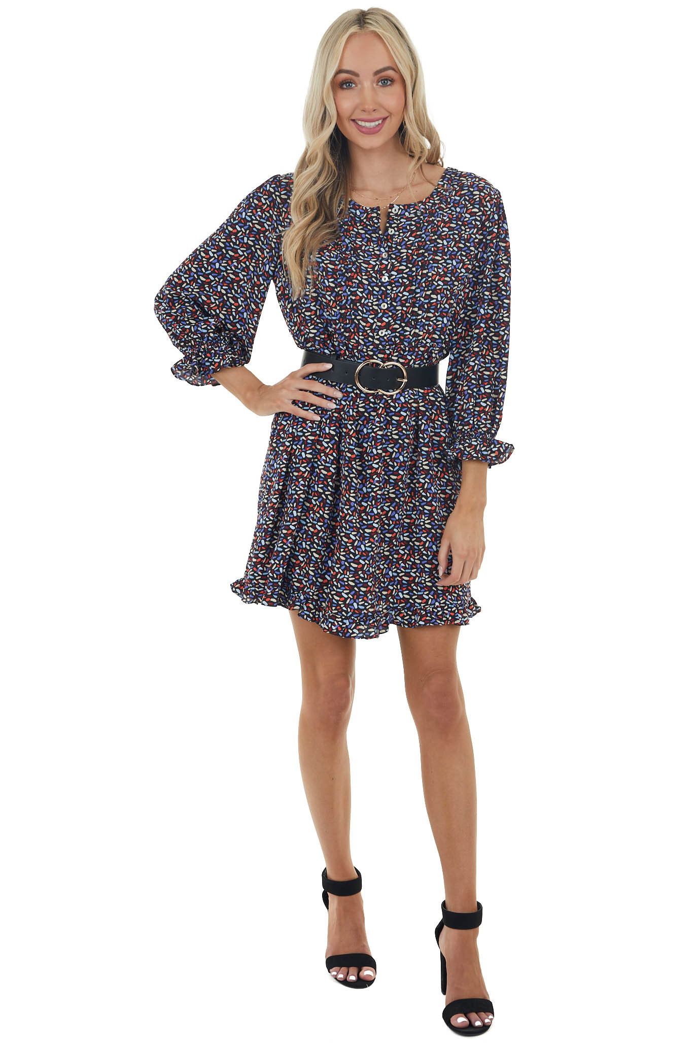 Black Printed Woven Short Dress with 3/4 Bubble Sleeves