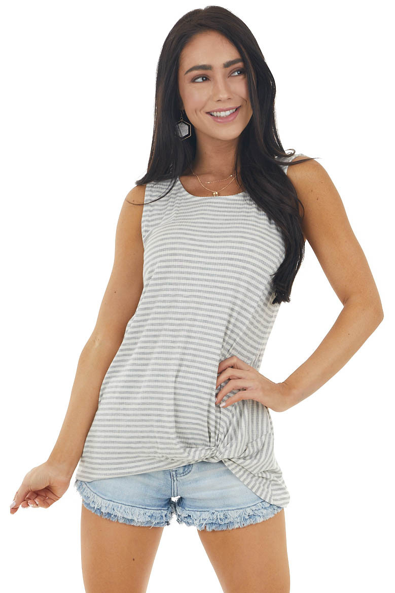 Dove Grey Striped Ribbed Sleeveless Top with Front Tie