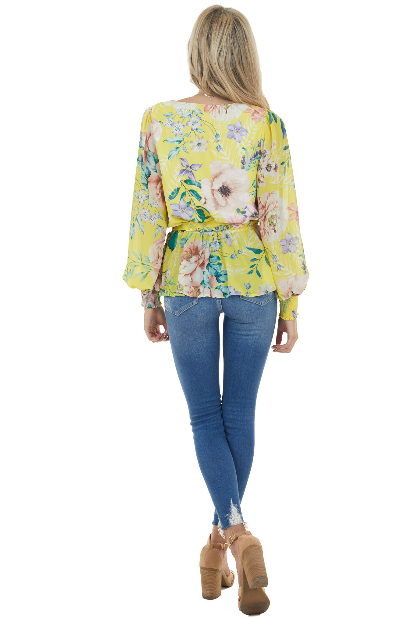 Banana Floral Surplice V Neck Blouse with Bubble Sleeve