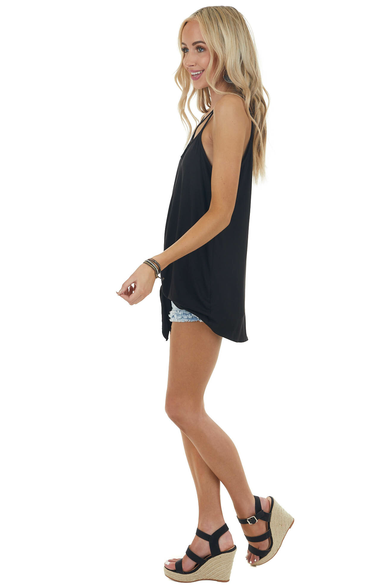 Black Sleeveless Caged Neckline Knit Top with Tie Detail