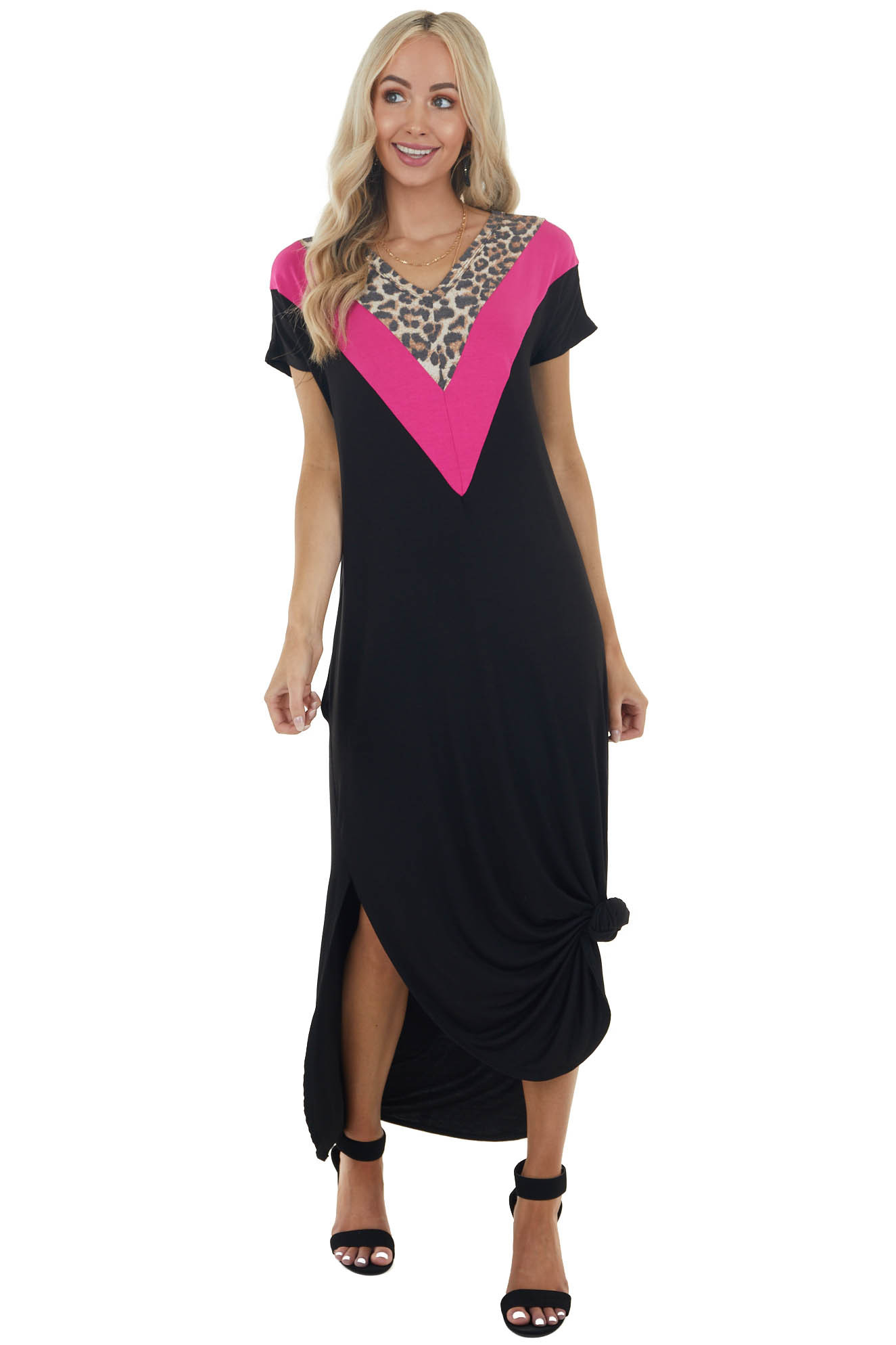 Black Maxi Dress with Leopard Print Chevron Colorblock