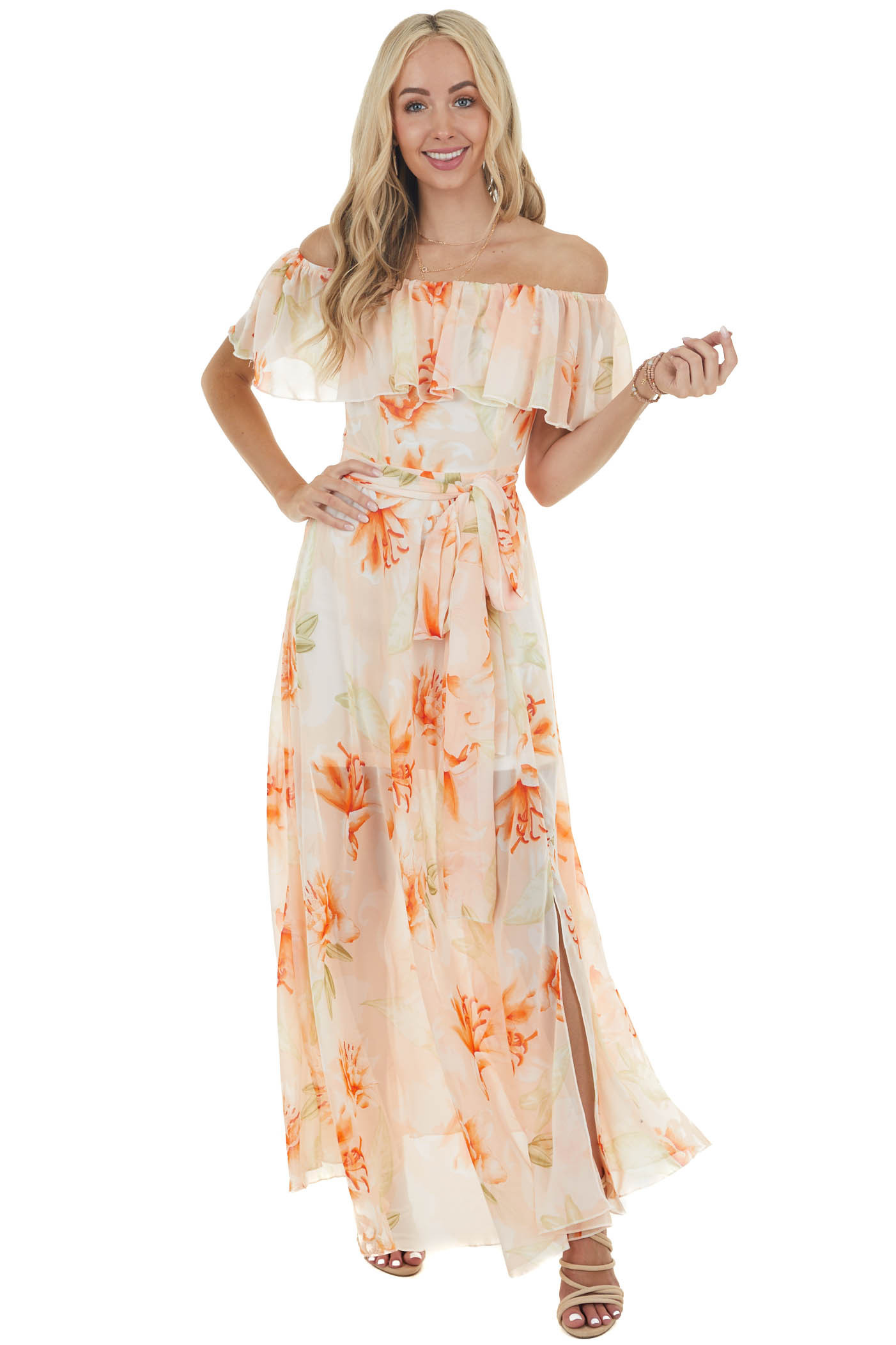 Peach Floral Print Off the Shoulder Woven Dress with Slit