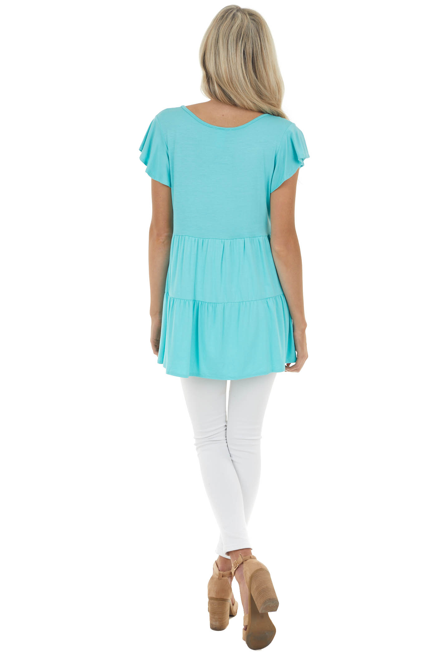 Aqua Blue Babydoll Tiered Knit Top with Flutter Sleeves