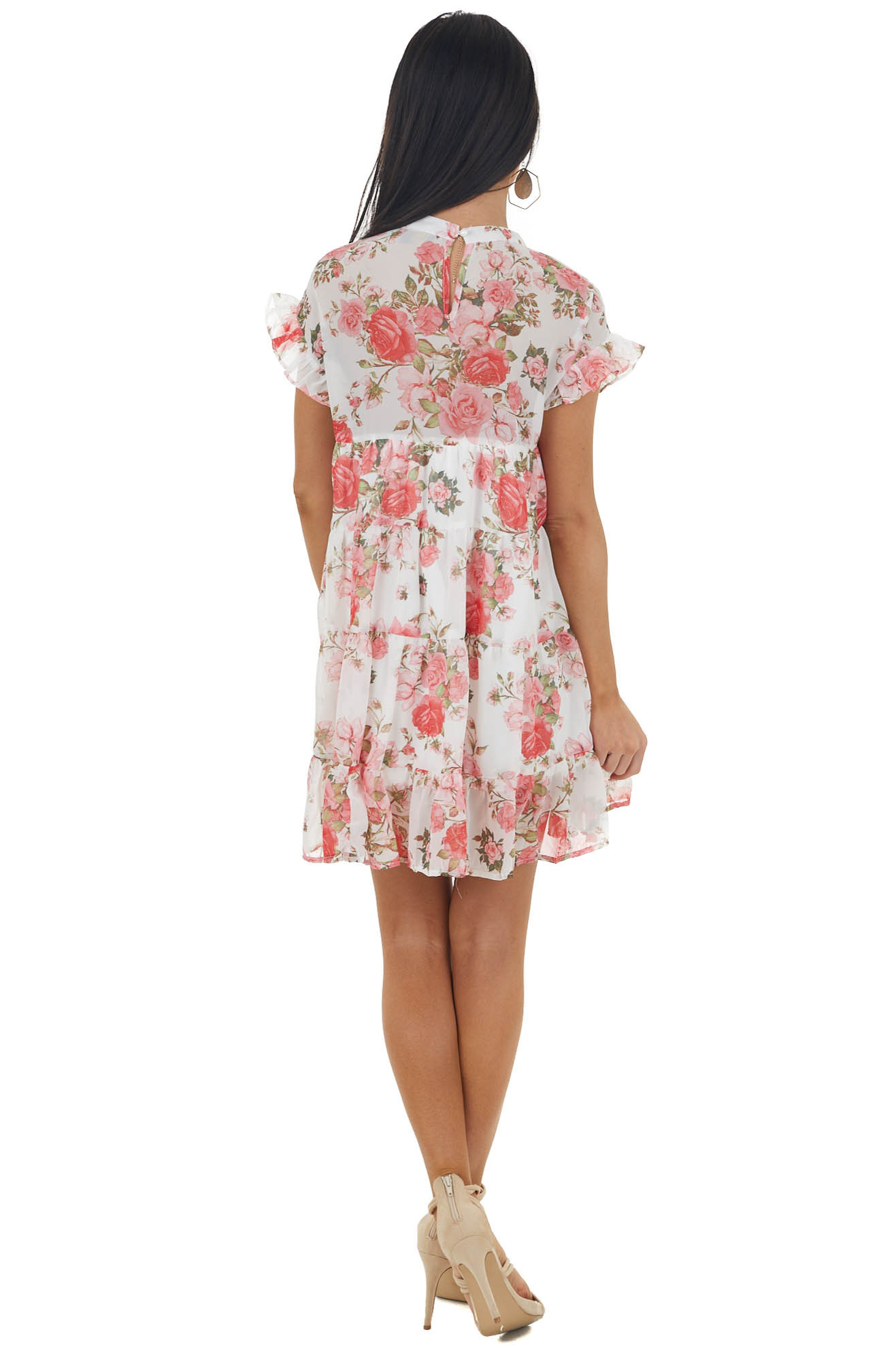 Ivory Floral Print Babydoll Short Dress with Short Sleeves