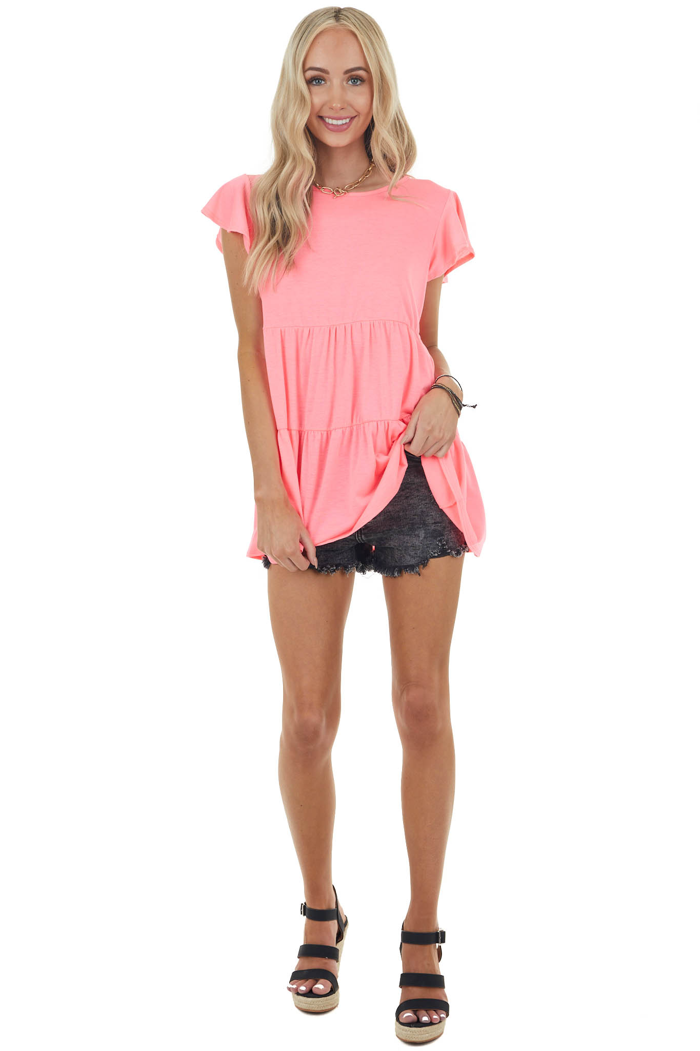 Neon Pink Babydoll Tiered Knit Top with Flutter Sleeves