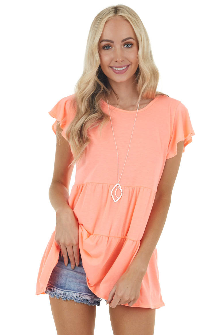 Neon Coral Babydoll Tiered Knit Top with Flutter Sleeves