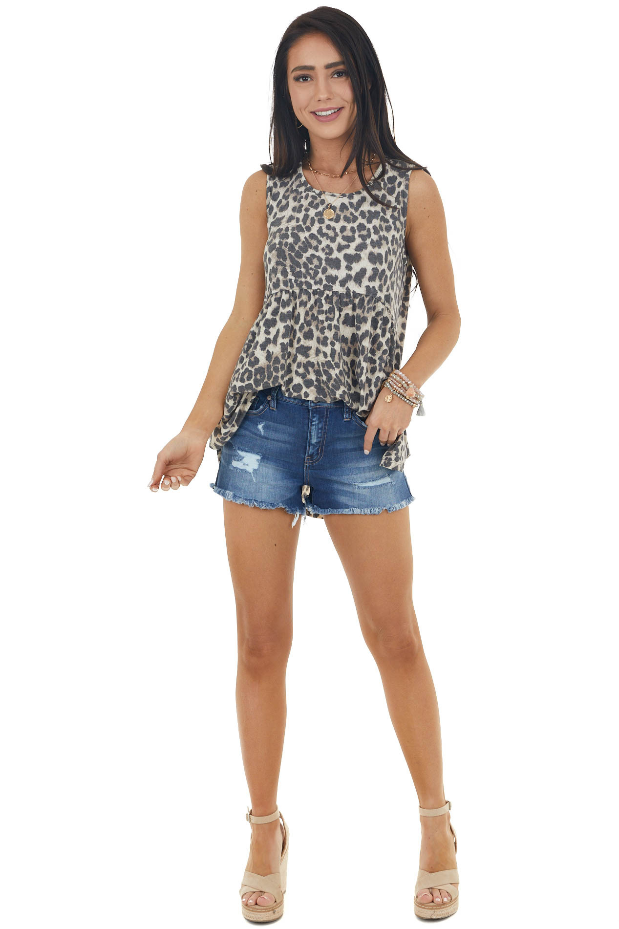 Latte and Charcoal Leopard Print Sleeveless Knit Top