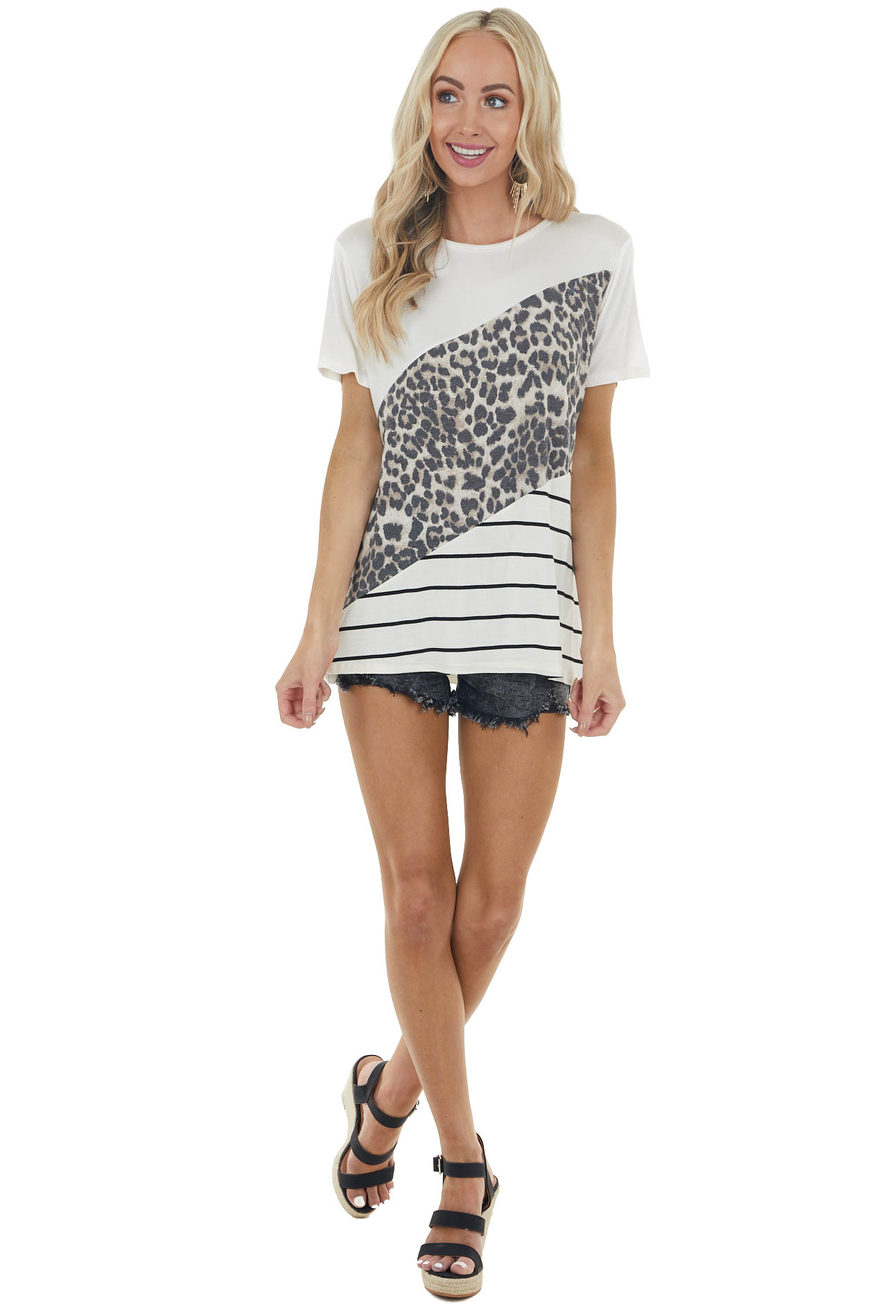 Ivory Multiprint Colorblock Short Sleeve Soft Knit Tee