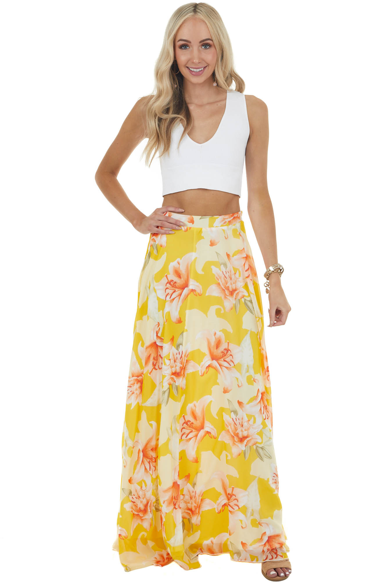 Amber Floral Print Flowy Woven Maxi Skirt with Side Zipper