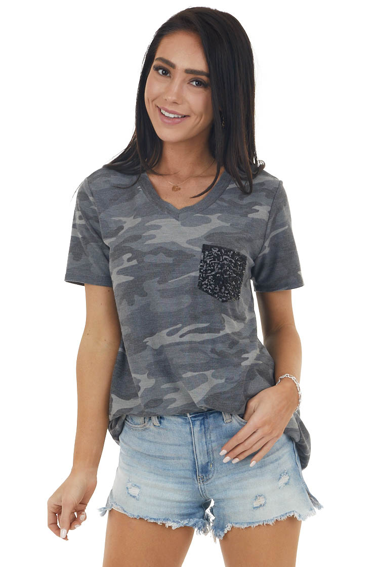 Charcoal Grey Camo Short Sleeve Top with Sequin Pocket
