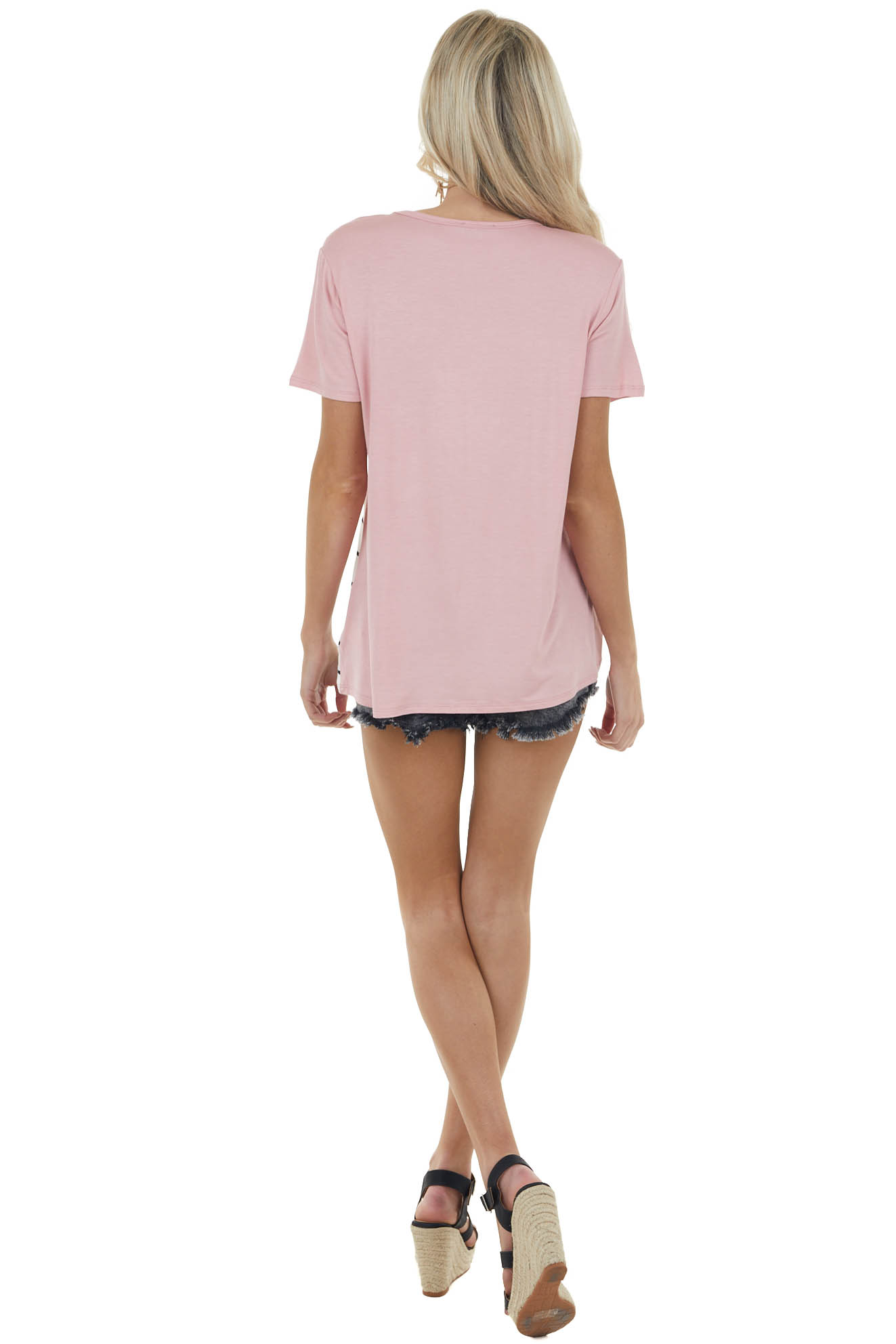 Dusty Blush Multiprint Colorblock Short Sleeve Soft Knit Tee