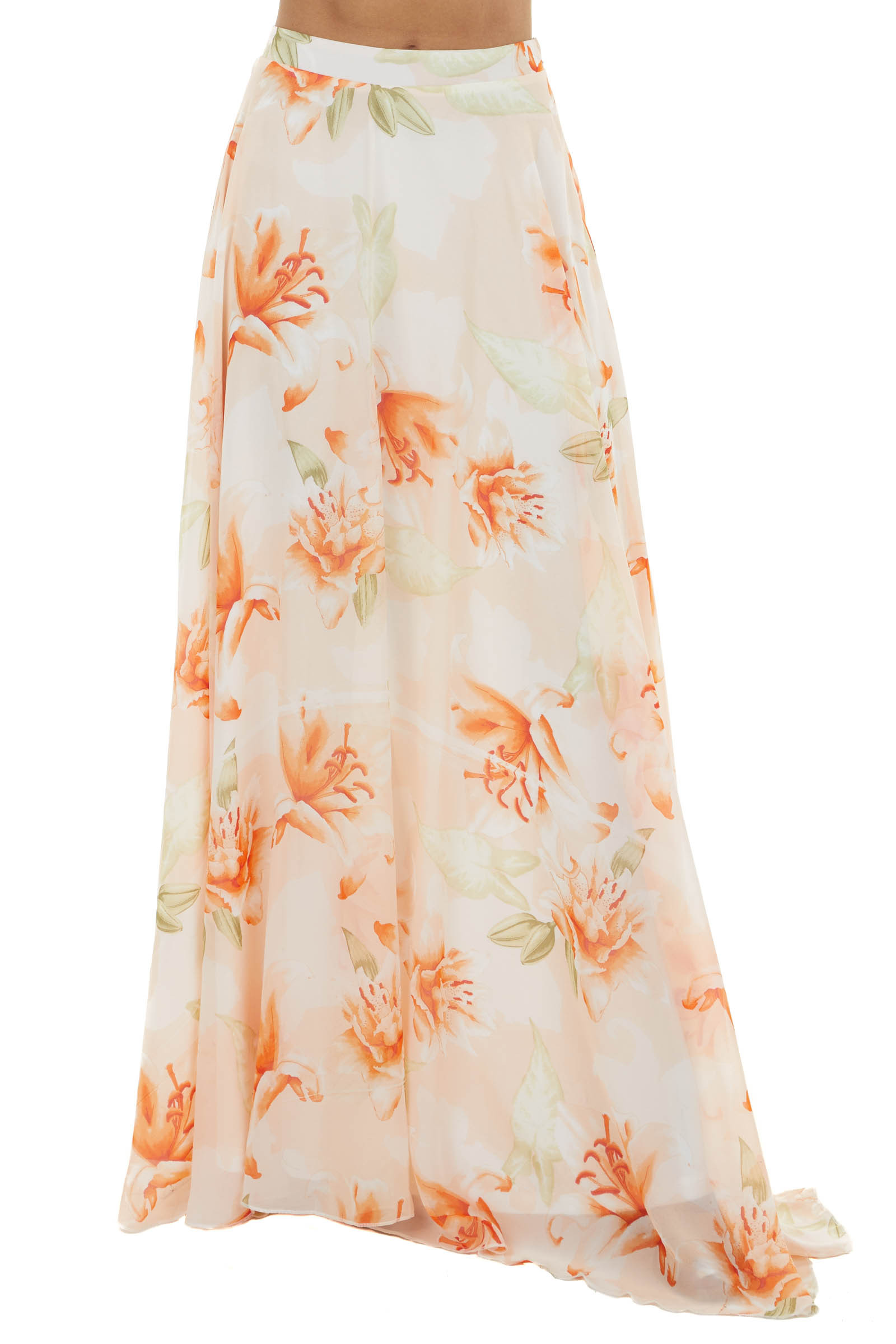 Peach Floral Print Flowy Woven Maxi Skirt with Side Zipper