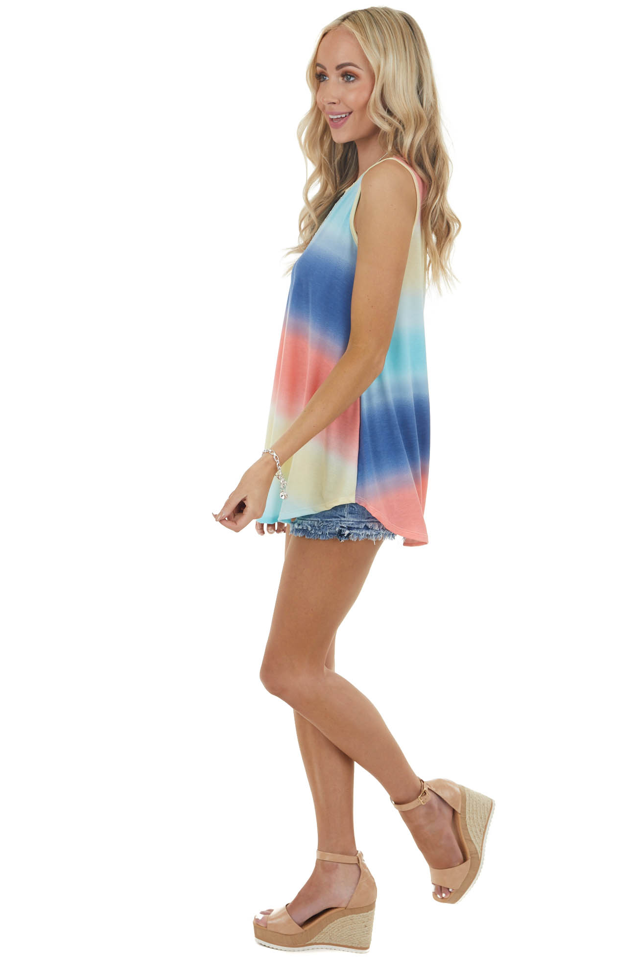 Navy and Coral Multicolor Sleeveless Stretchy Knit Tank Top