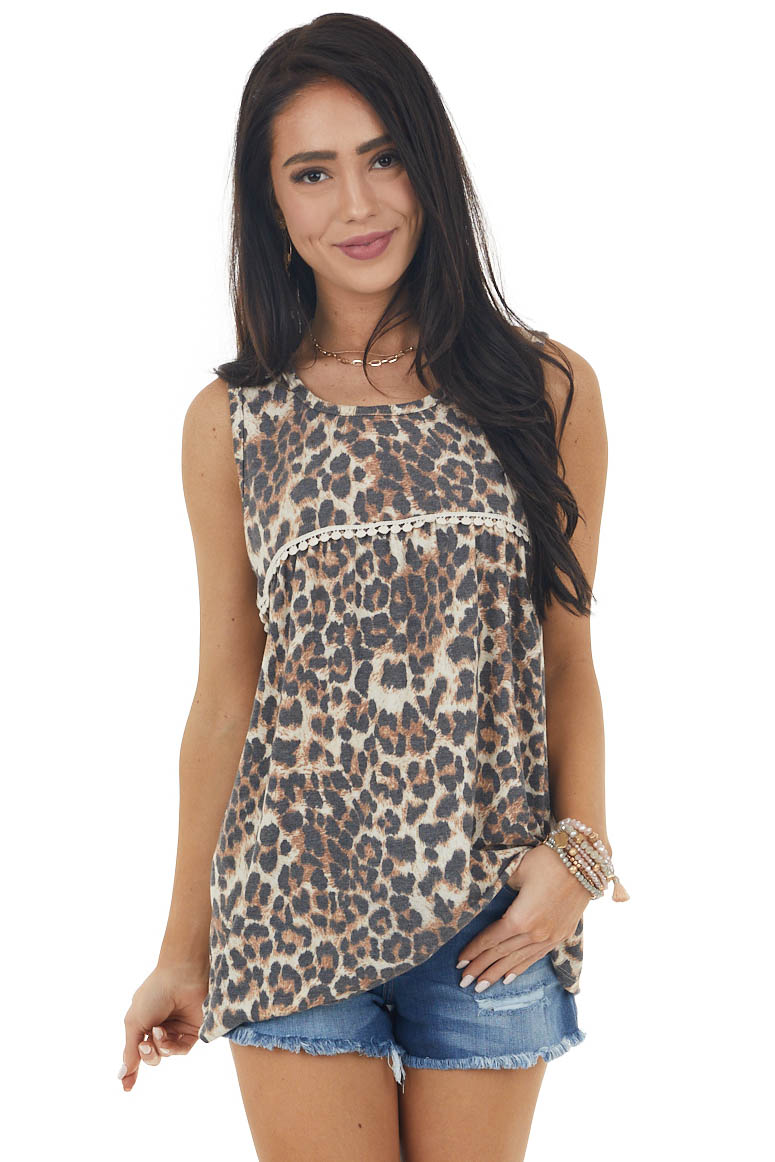 Beige Leopard Print Sleeveless Knit Top with Lace Detail
