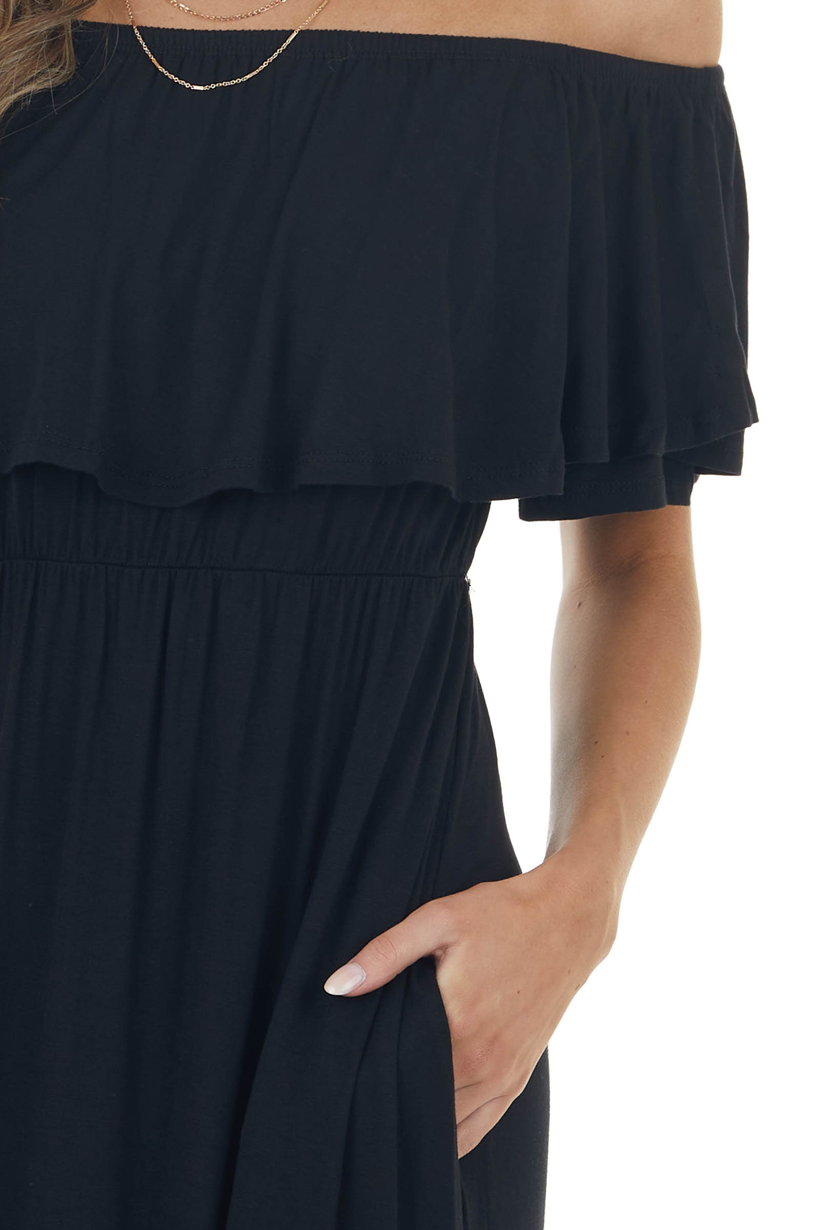 Black Off Shoulder Overlaying Knit Maxi Dress with Pockets