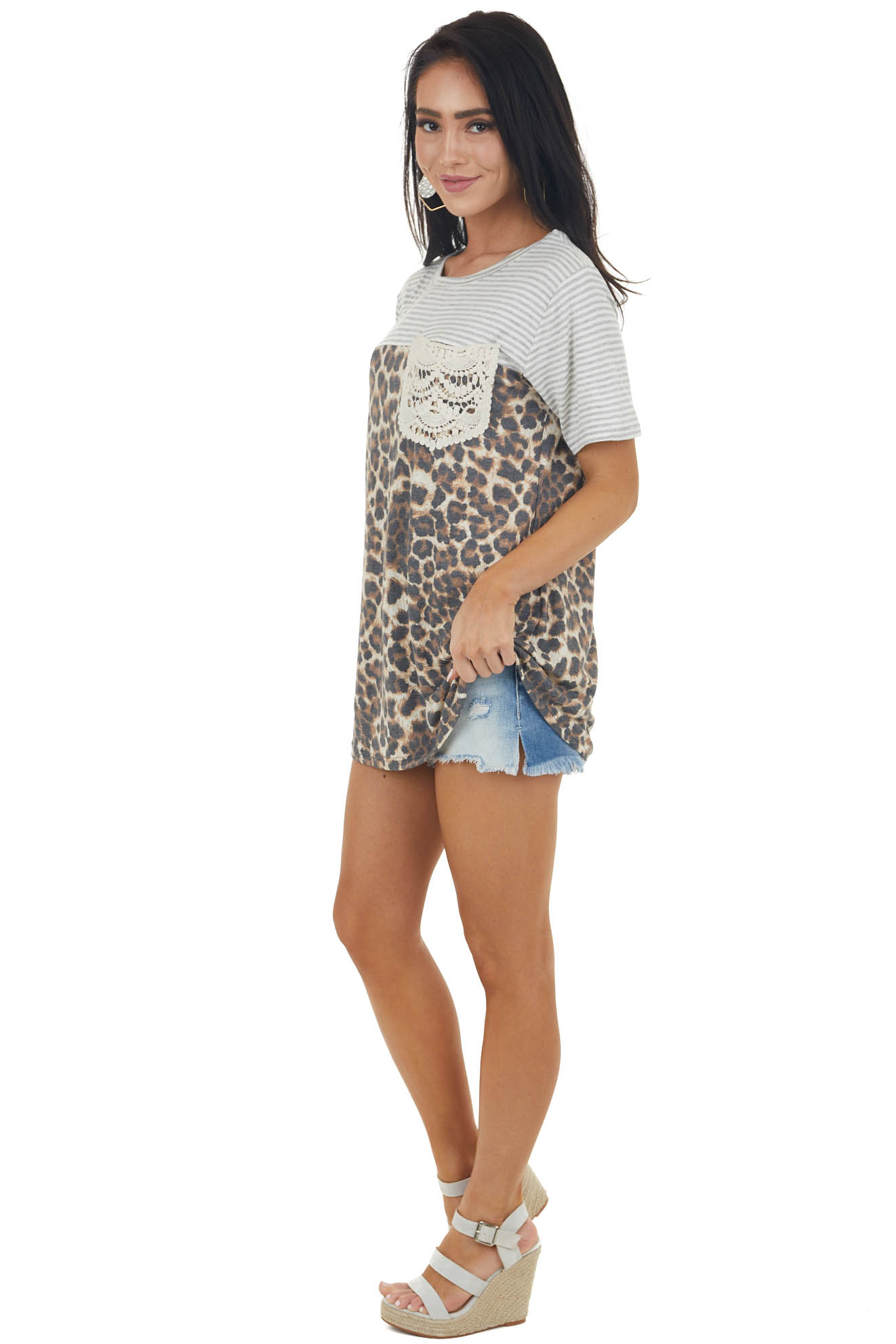 Cognac Leopard Print and Stripe Knit Tee with Lace Pocket