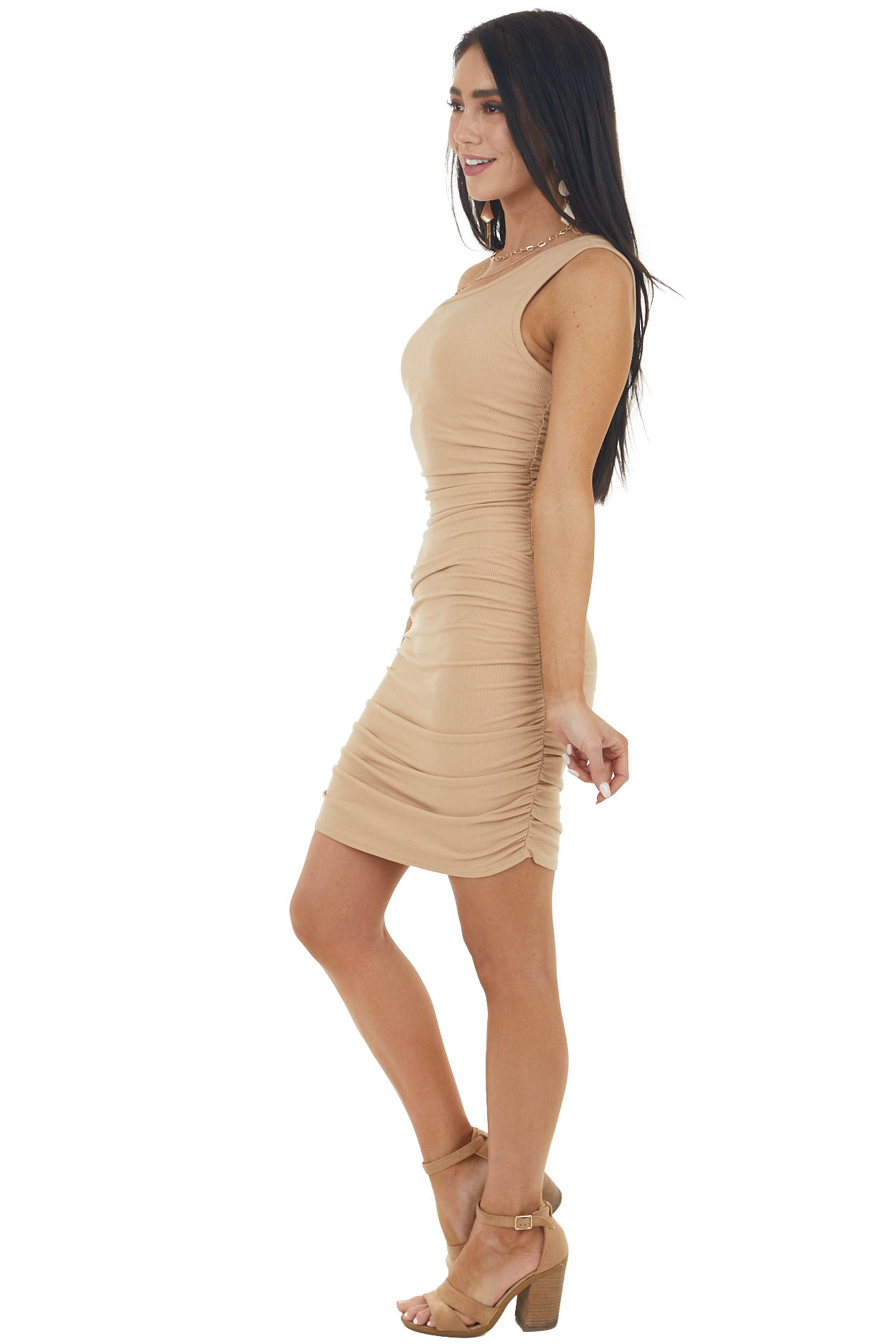 Sand Ribbed One Shoulder Bodycon Dress with Ruching Detail