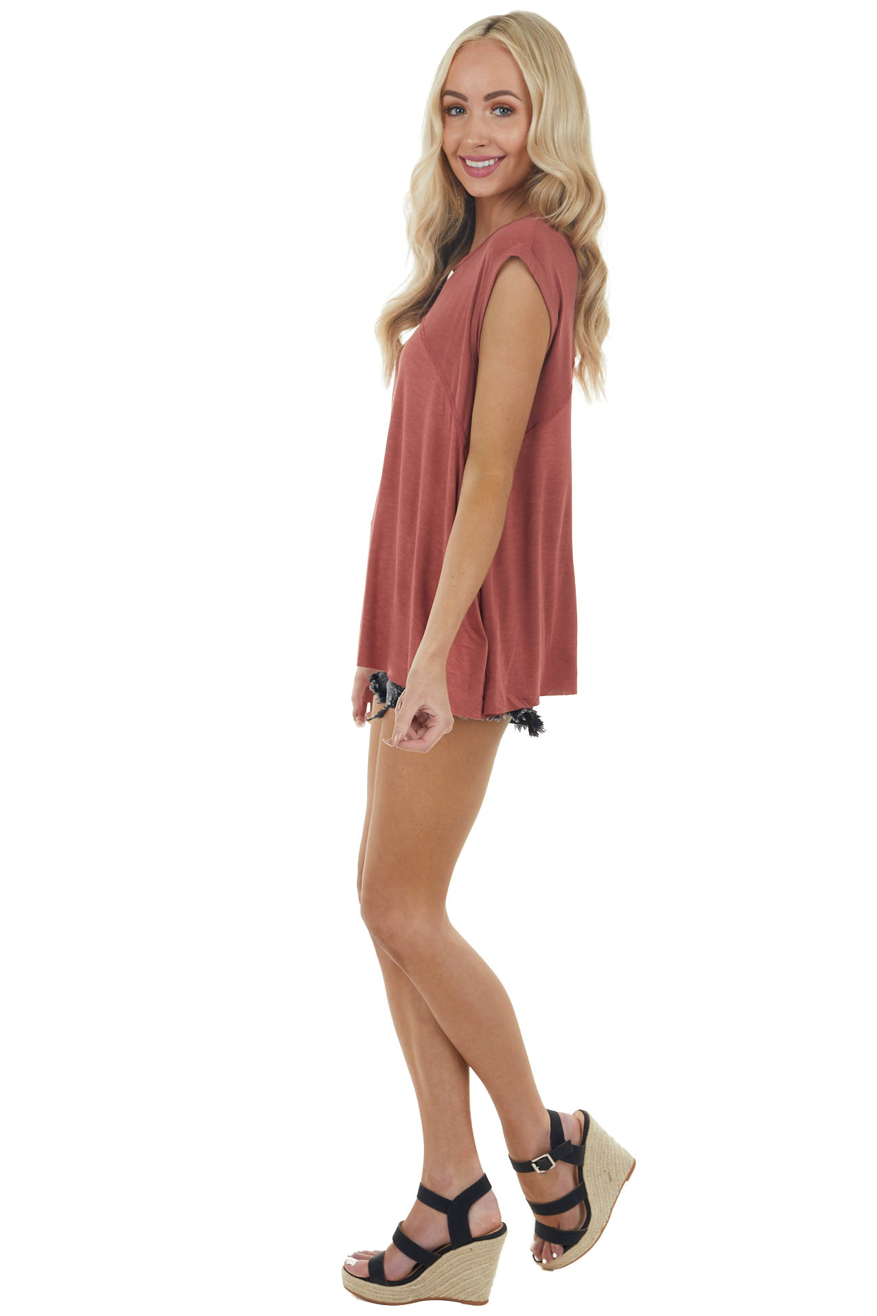 Rust Short Sleeve Oversized Top with Back Slit Detail