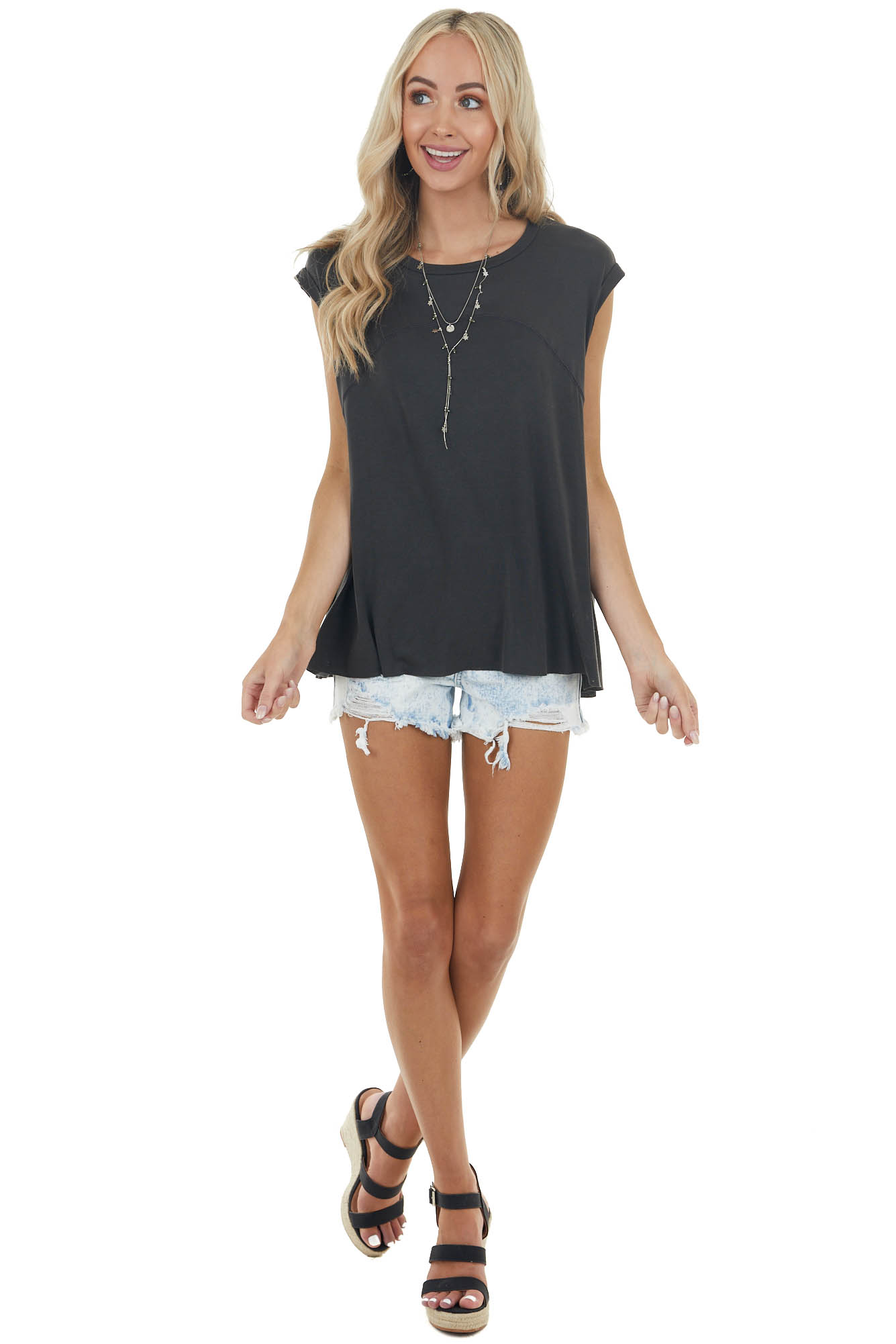 Black Short Sleeve Oversized Top with Back Slit Detail