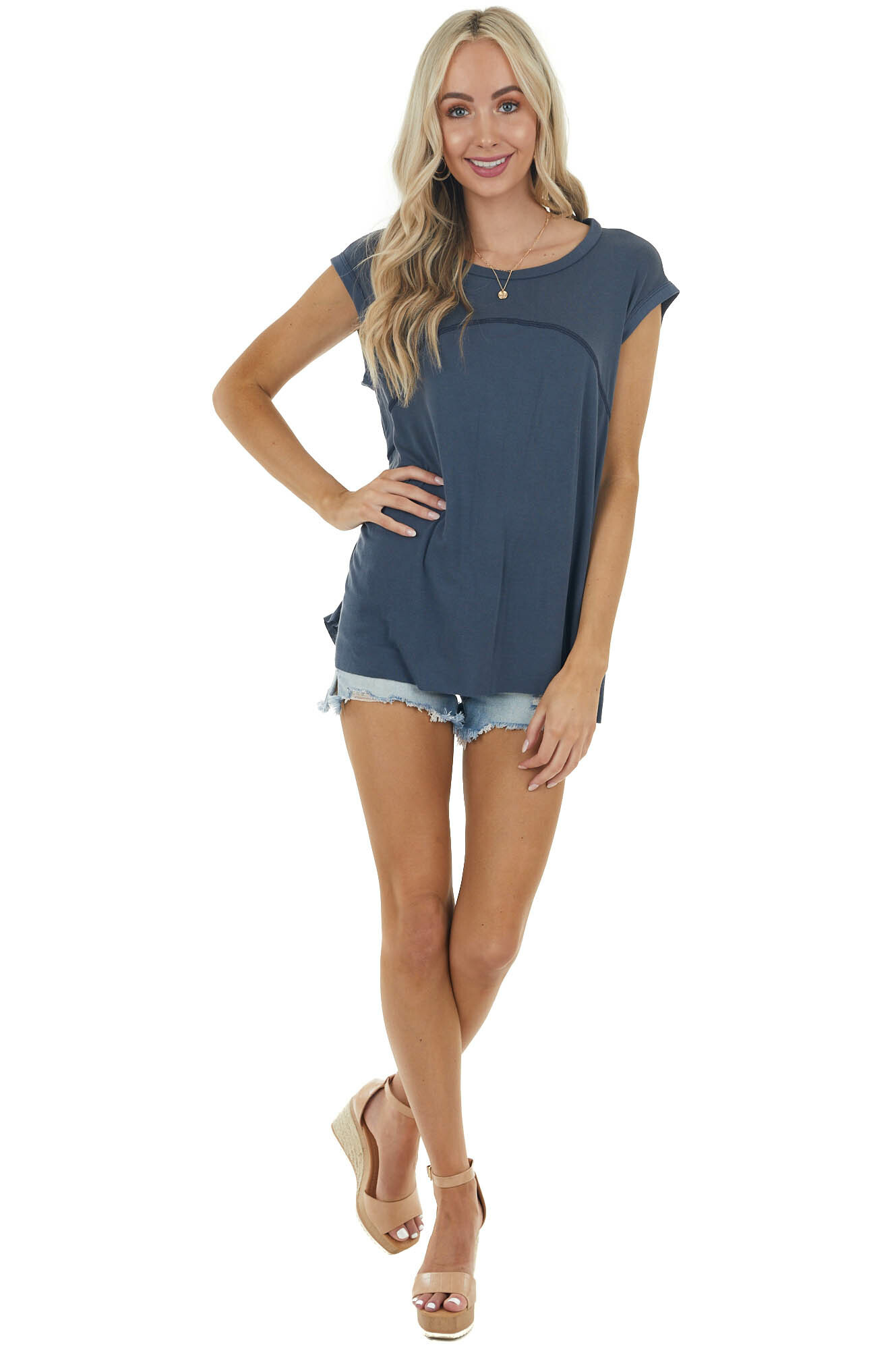 Navy Short Sleeve Oversized Top with Back Slit Detail