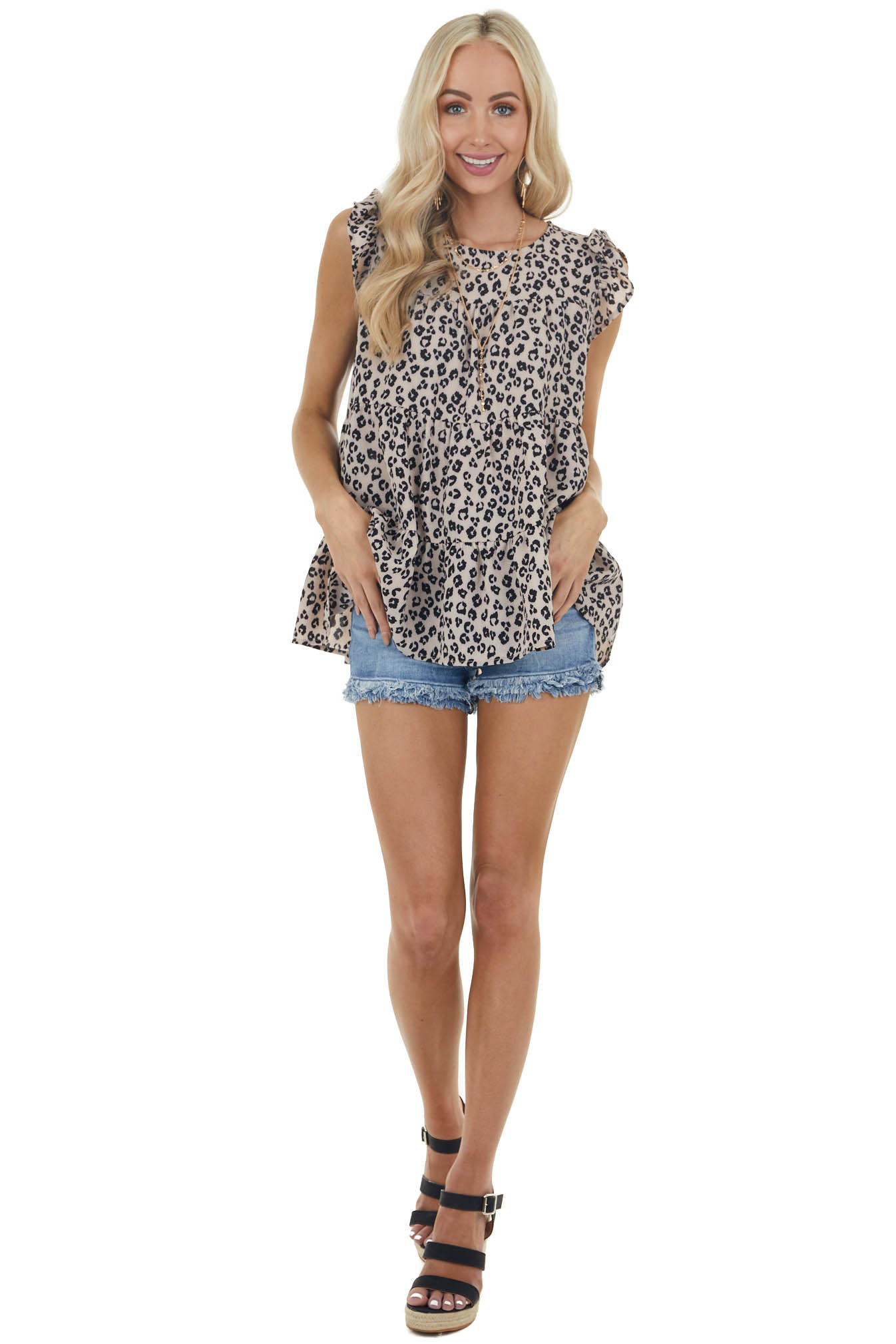 Latte and Black Leopard Blouse with Short Flutter Sleeves