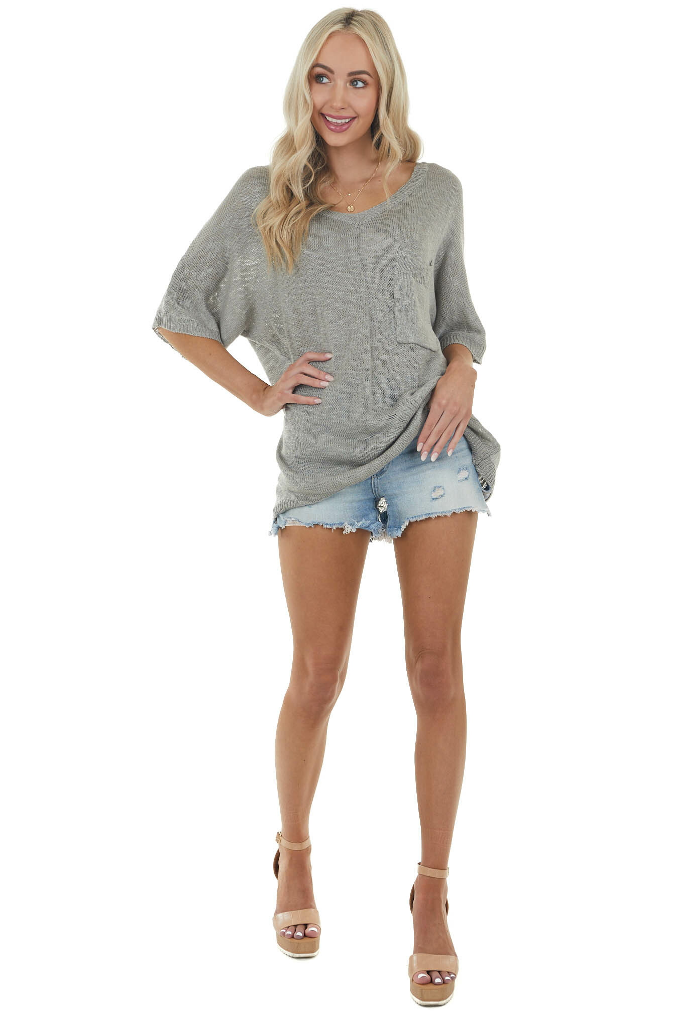 Ash Grey Lightweight Stretchy Knit Top with Pocket Detail