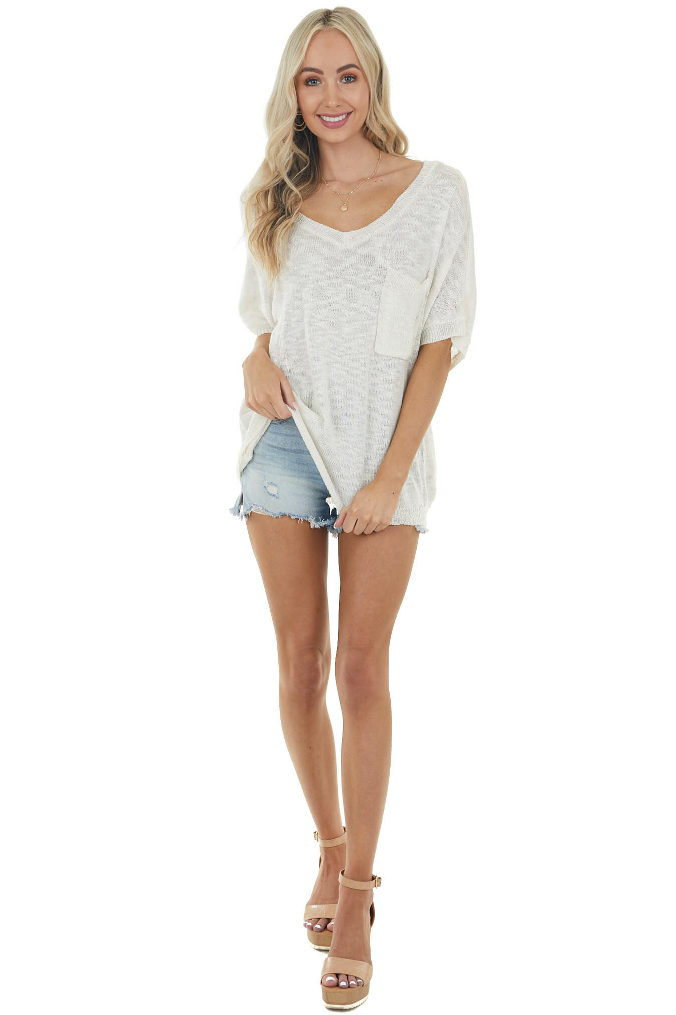 Ivory Lightweight Stretchy Knit Top with Pocket Detail