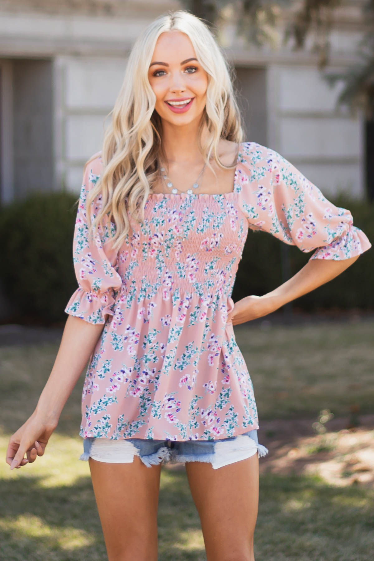 Dusty Rose Floral Square Neck Blouse with Smocking Detail