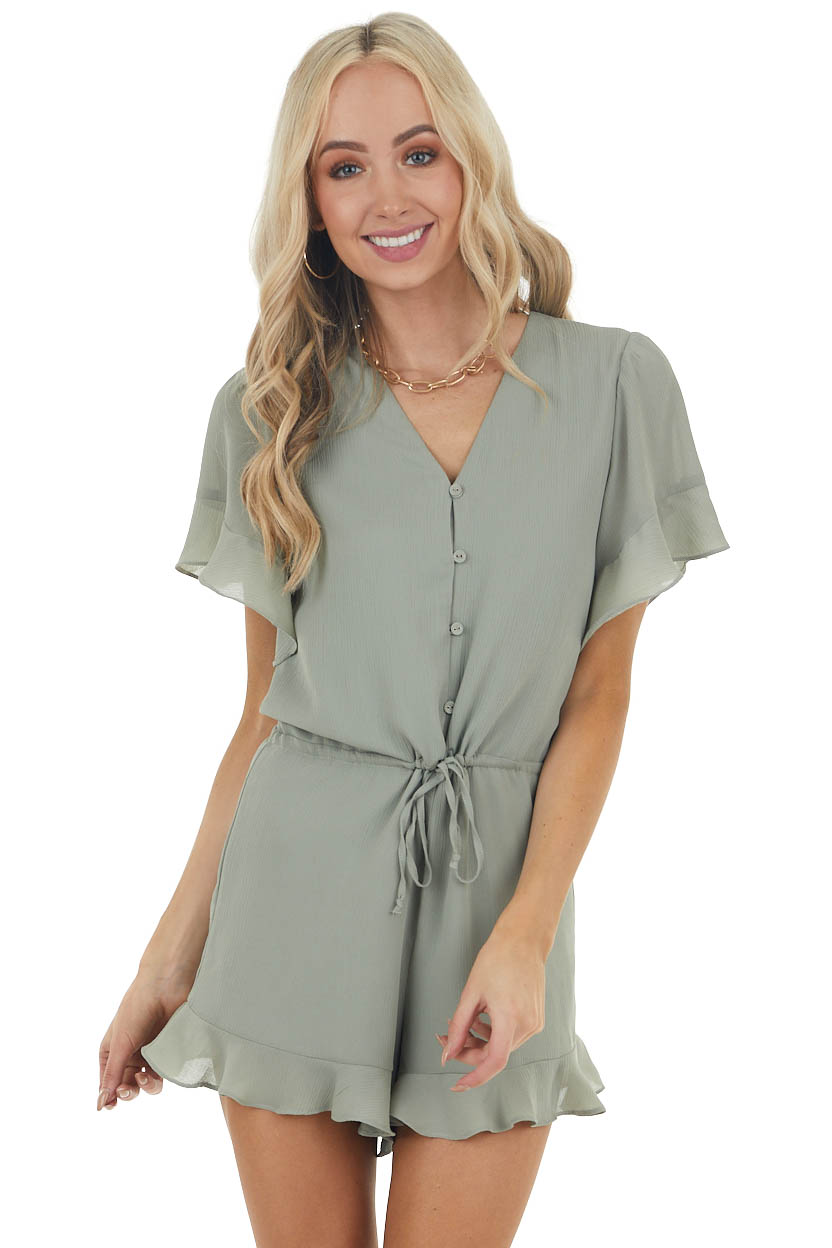 Sage V Neckline Woven Romper with Short Ruffle Sleeves