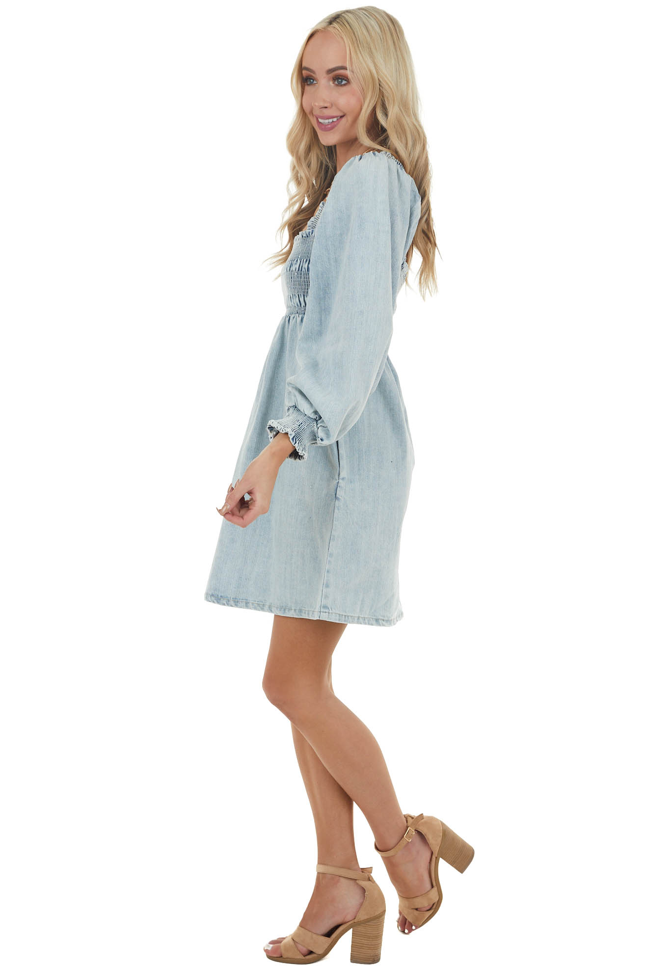 Light Wash Babydoll Long Puff Sleeve Short Denim Dress