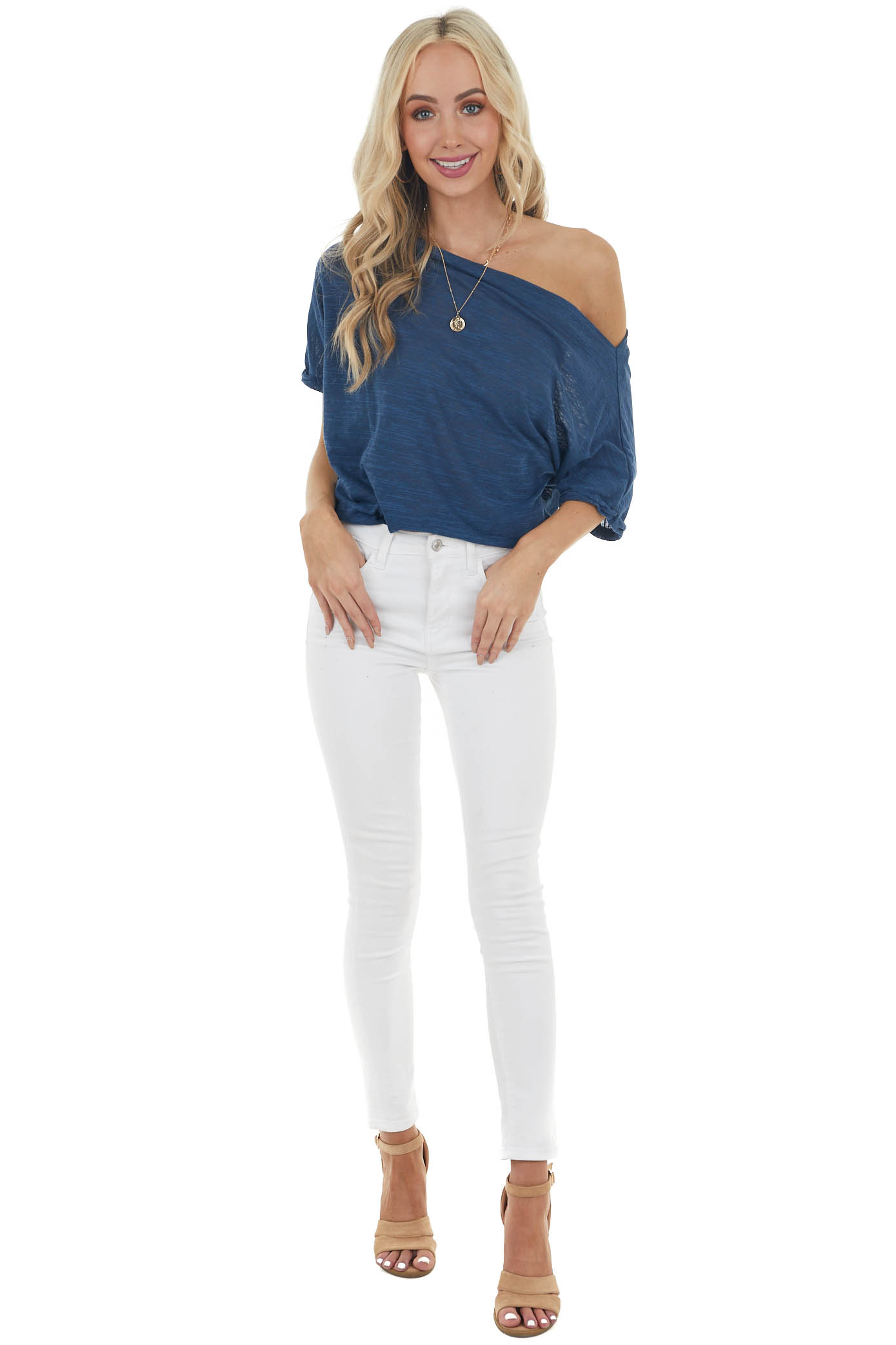 Heathered Navy Off Shoulder Top with Short Dolman Sleeves