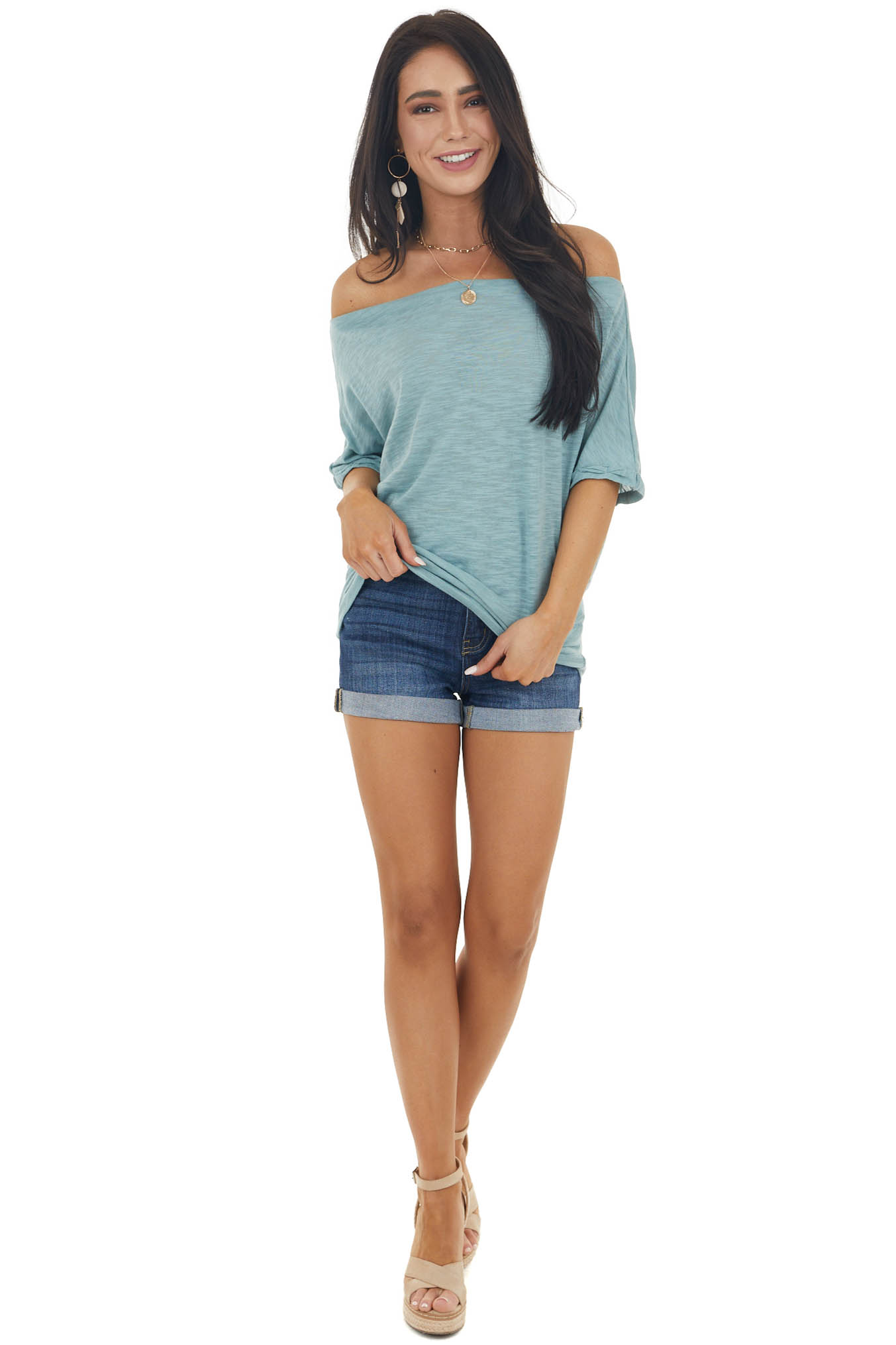 Heathered Teal Off Shoulder Top with Short Dolman Sleeves