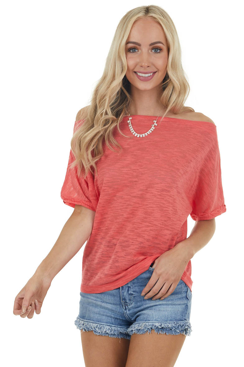 Heathered Coral Short Dolman Sleeves Top with Boat Neckline