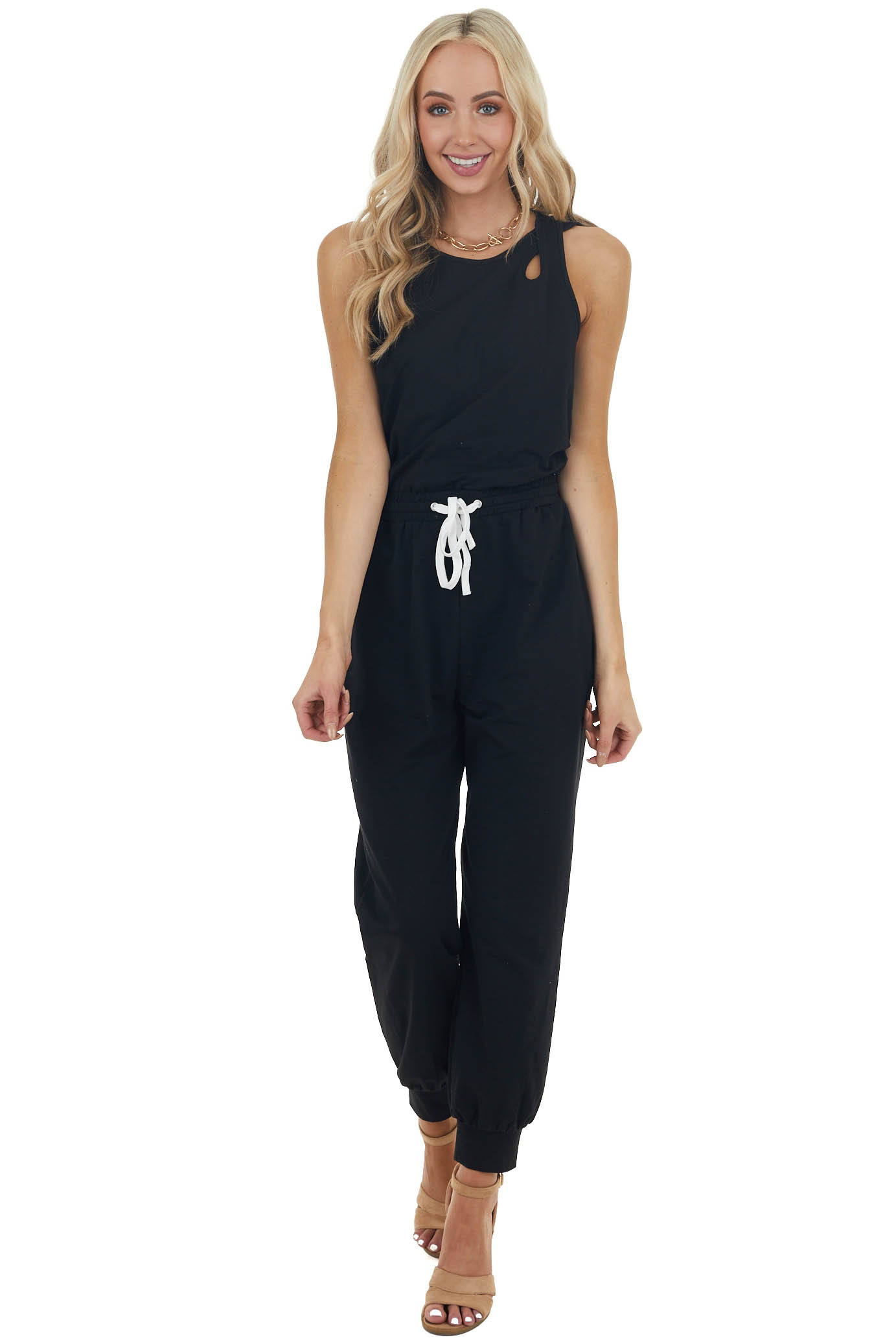 Black Knit Sleeveless Jumpsuit with Tie and Cutout Details