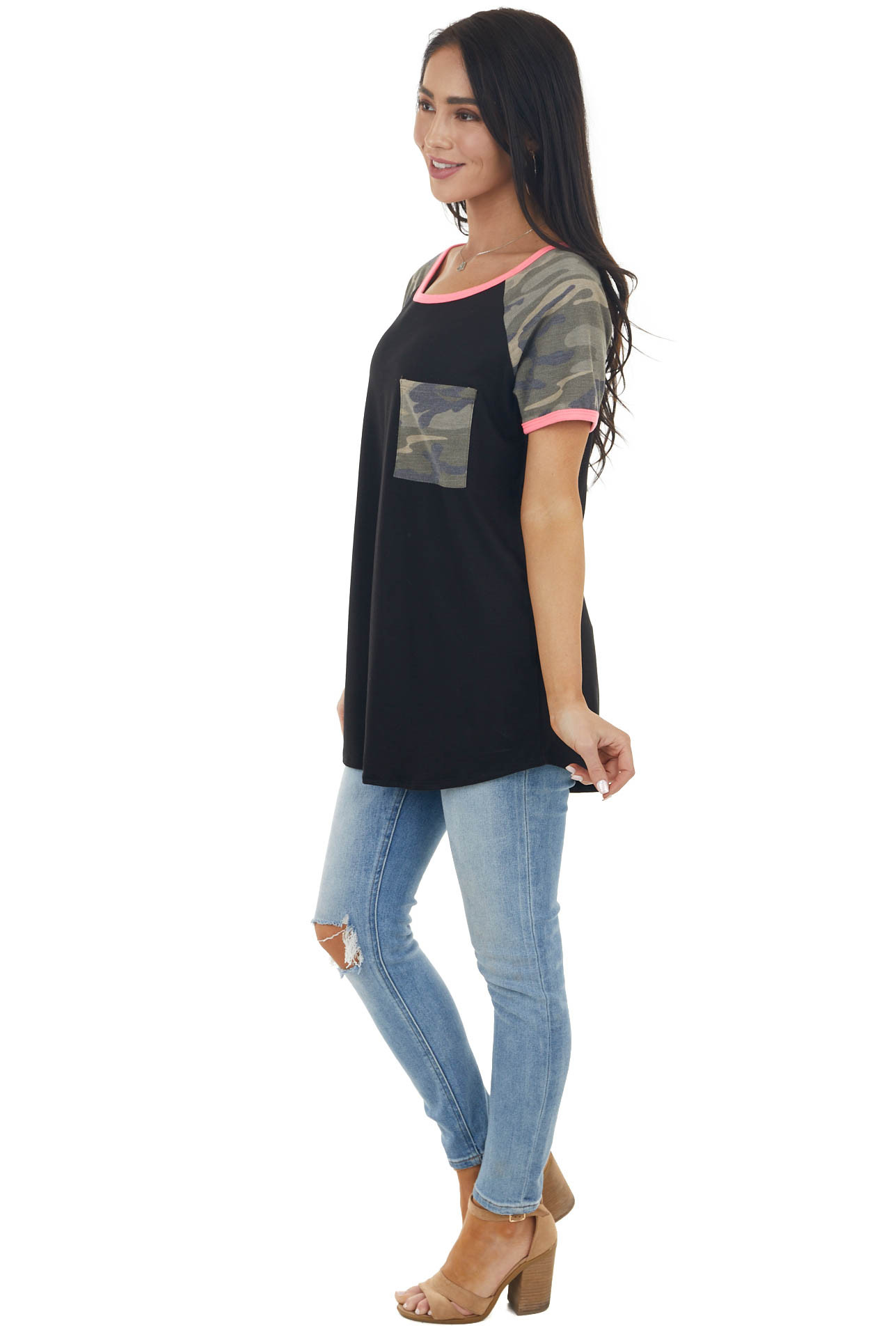 Black Raglan Short Sleeve Top with Camo and Neon Details