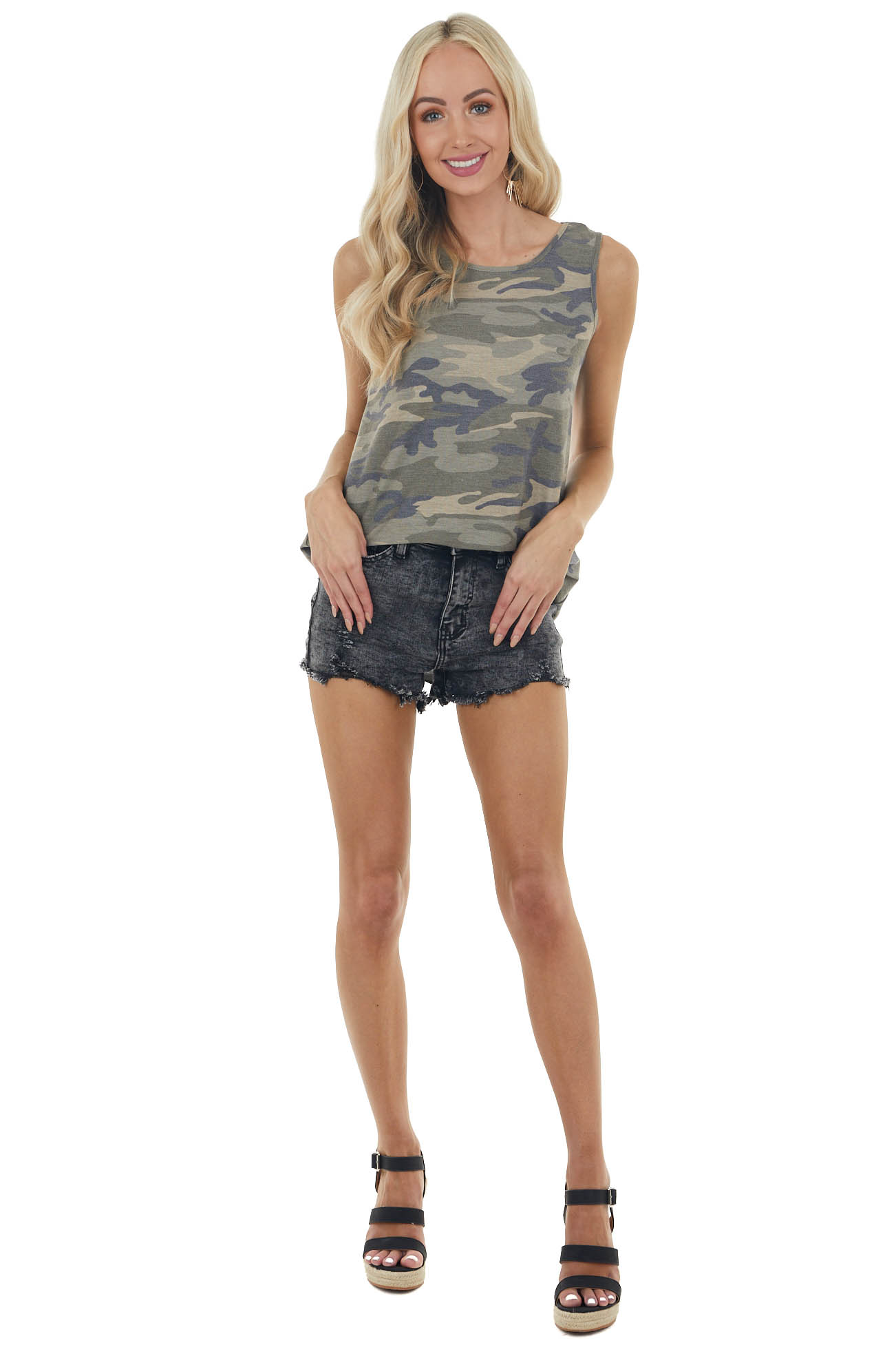 Dusty Camo Print Knit Tank Top with Open Back Twist Detail