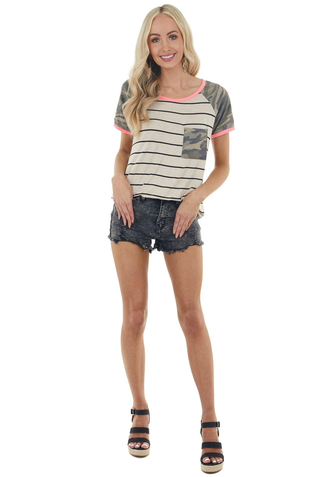 Oatmeal and Black Striped Knit Top with Camo and Neon Detail
