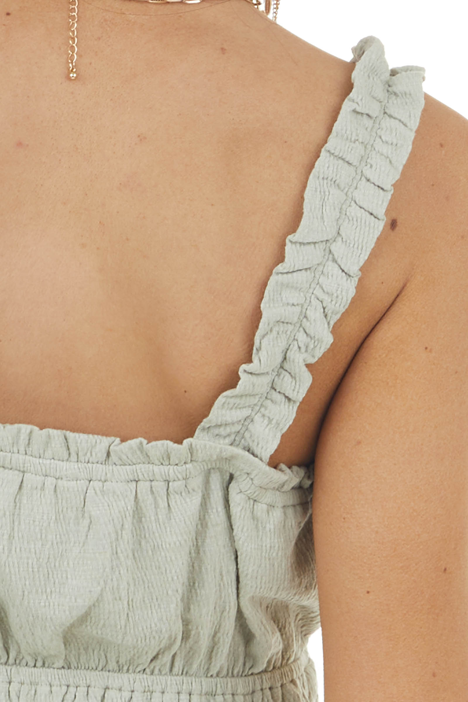 Dusty Sage Peplum Knit Tank Top with Ruching Details