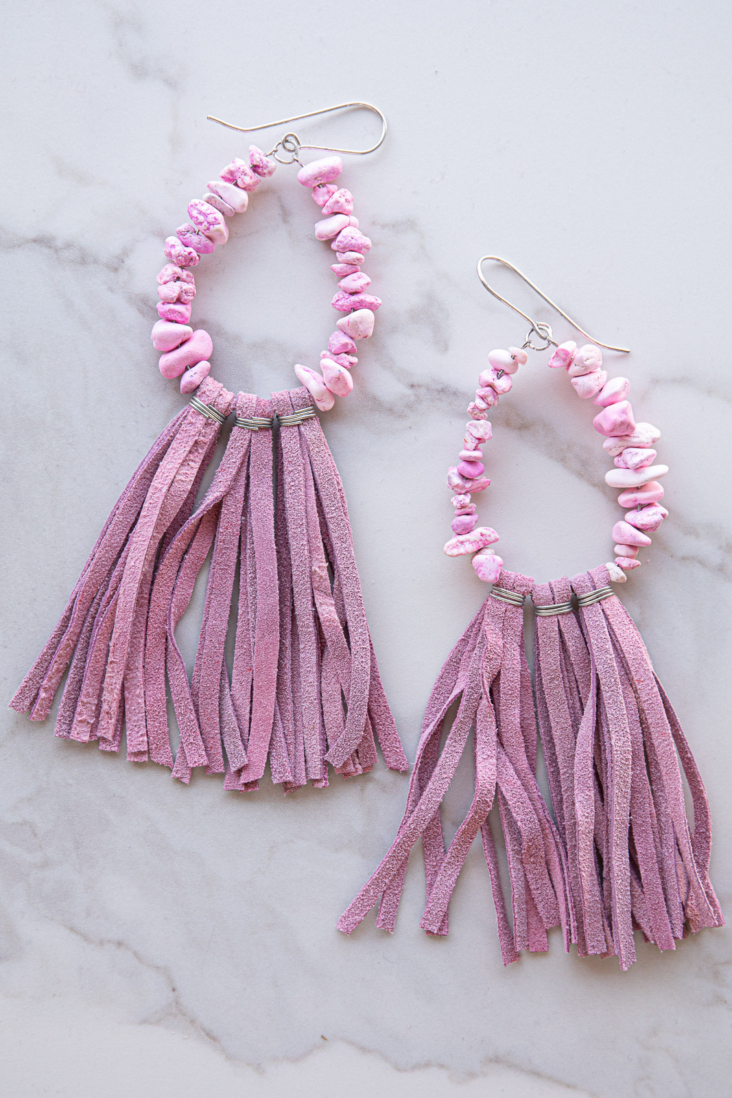 Mauve Tassel Silver Teardrop Stone Beaded Dangle Earrings