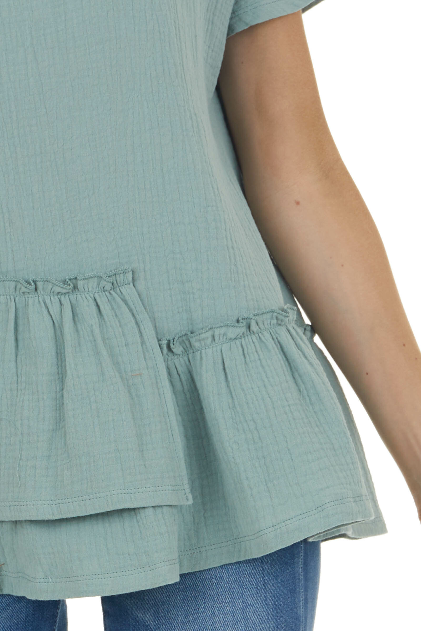 Sage Textured Woven Top with Asymmetrical Layered Peplum