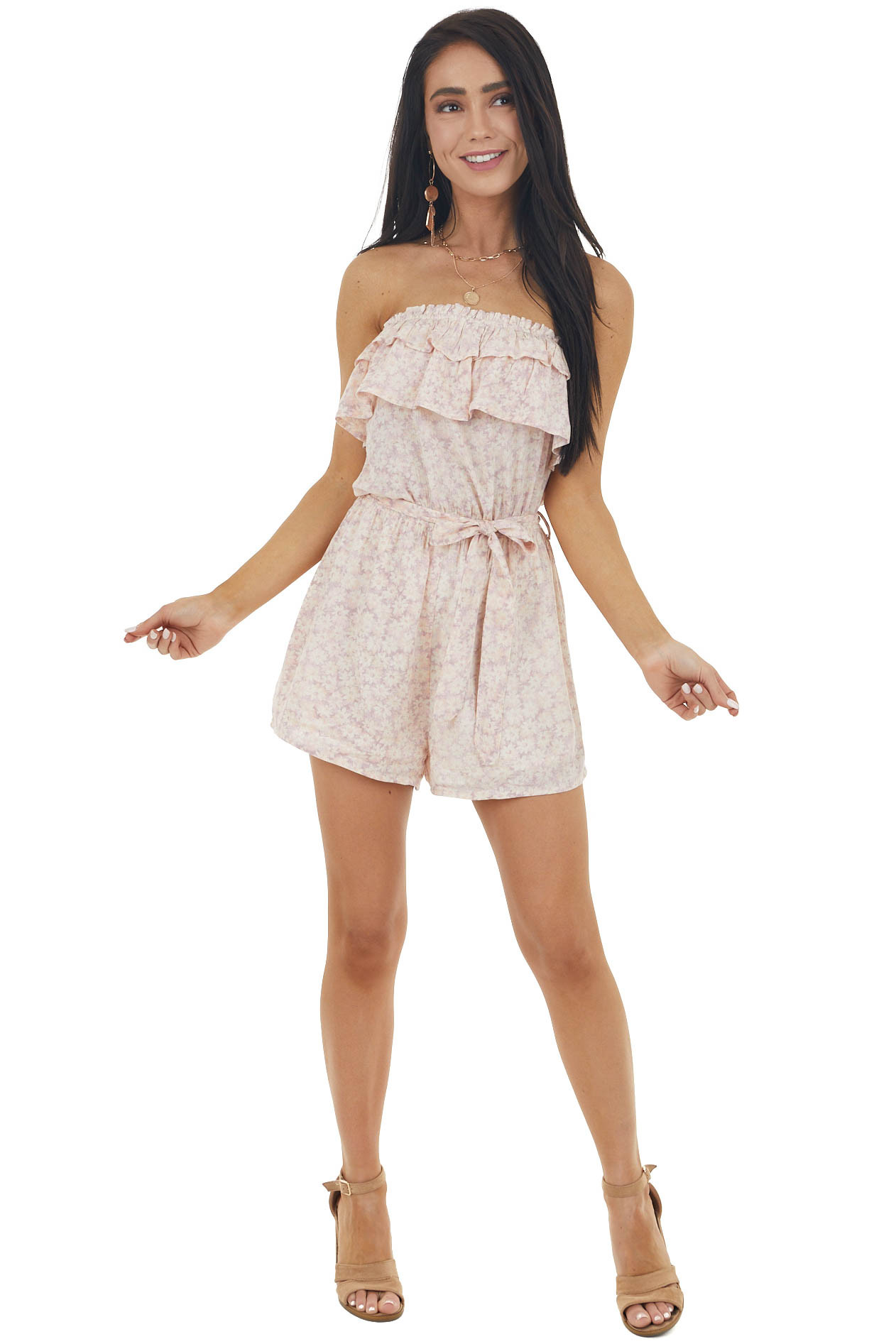 Baby Pink Floral Print Strapless Woven Romper with Front Tie