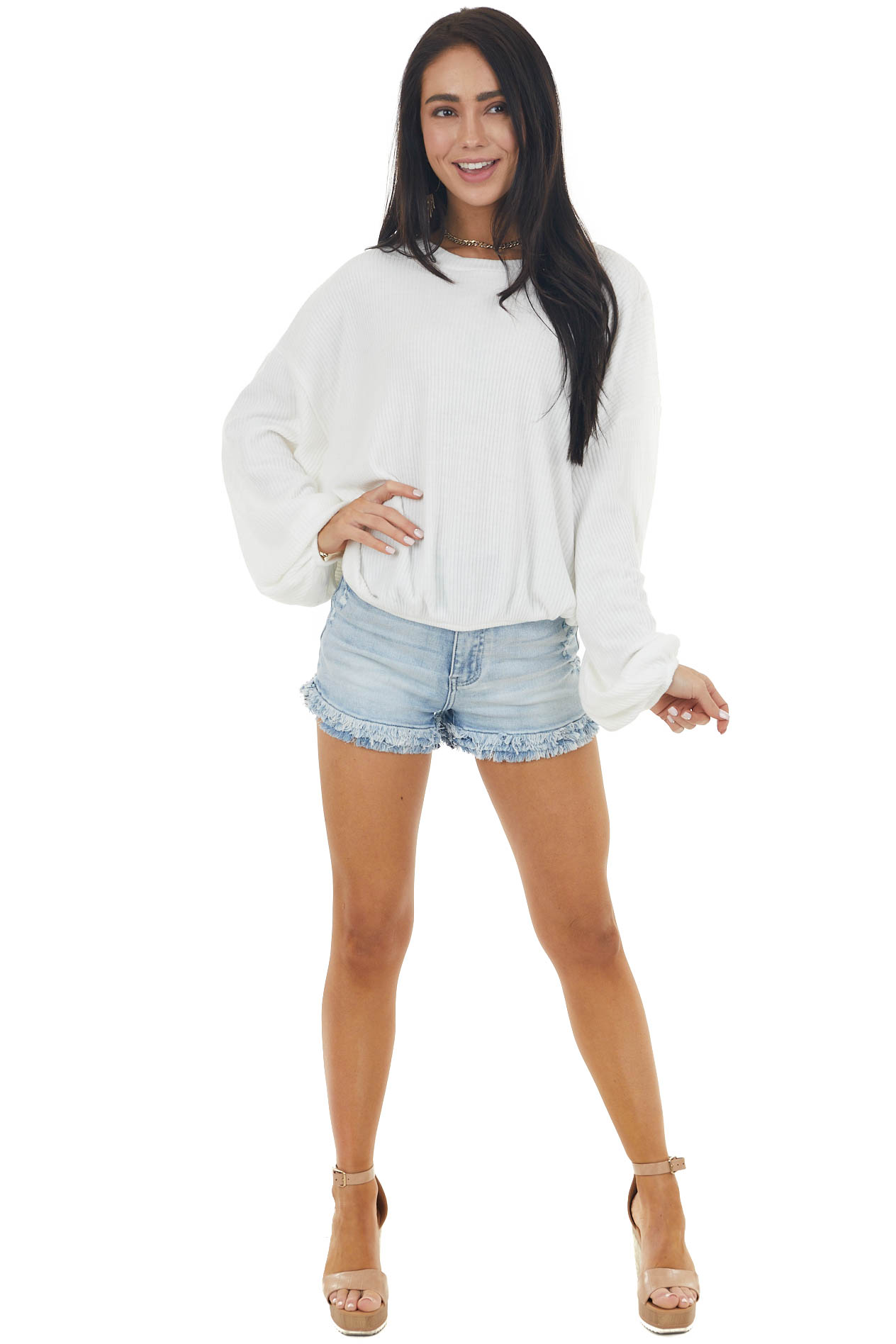 Ivory Long Bubble Sleeve Stretchy Ribbed Knit Top