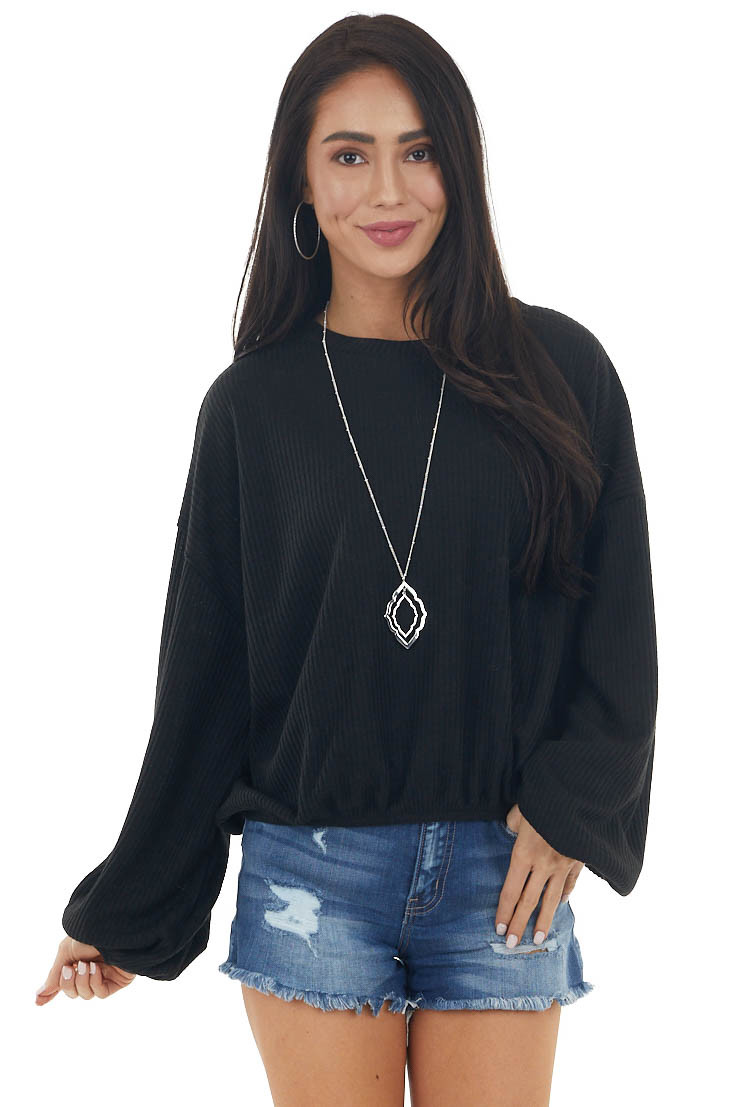 Black Long Bubble Sleeve Stretchy Ribbed Knit Top