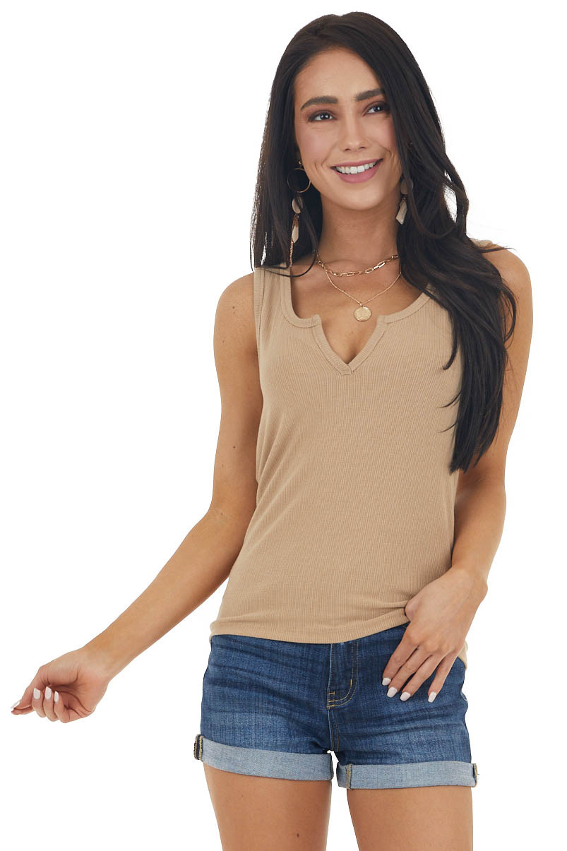 Latte Ribbed Knit Tank Top with V Notch Neckline Detail