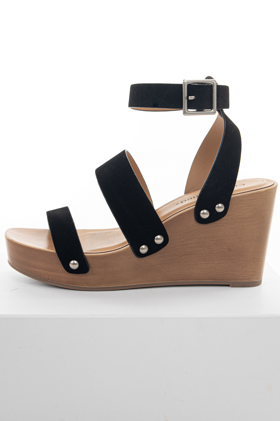 Black Faux Suede Strappy Wedge Sandal with Adjustable Buckle