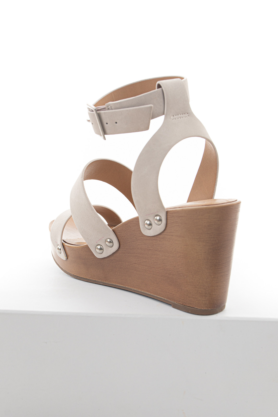 Oatmeal Faux Suede Strappy Wedge Sandal with Buckle