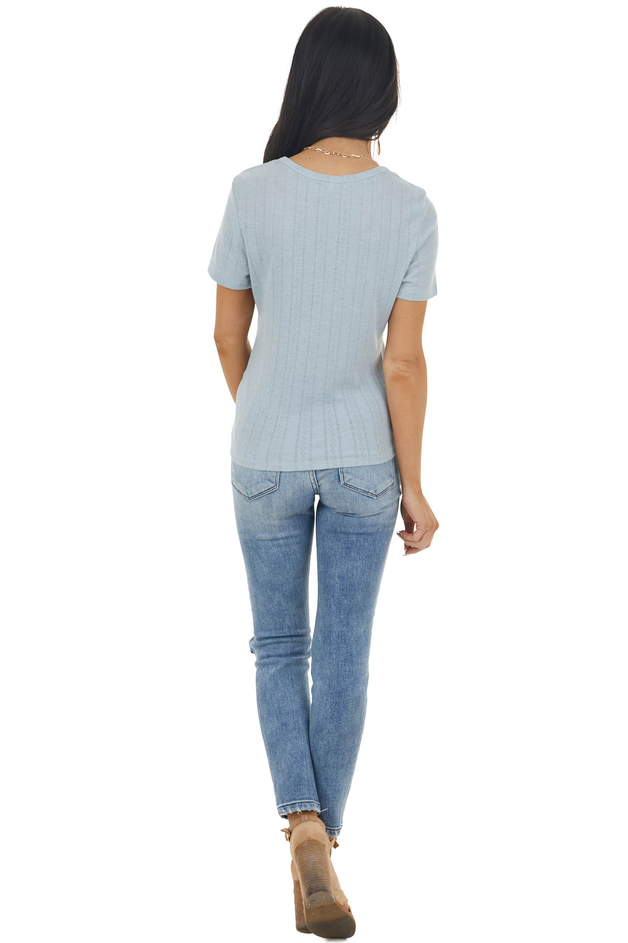 Sky Blue Textured Stretchy Knit Short Sleeve Henley Top