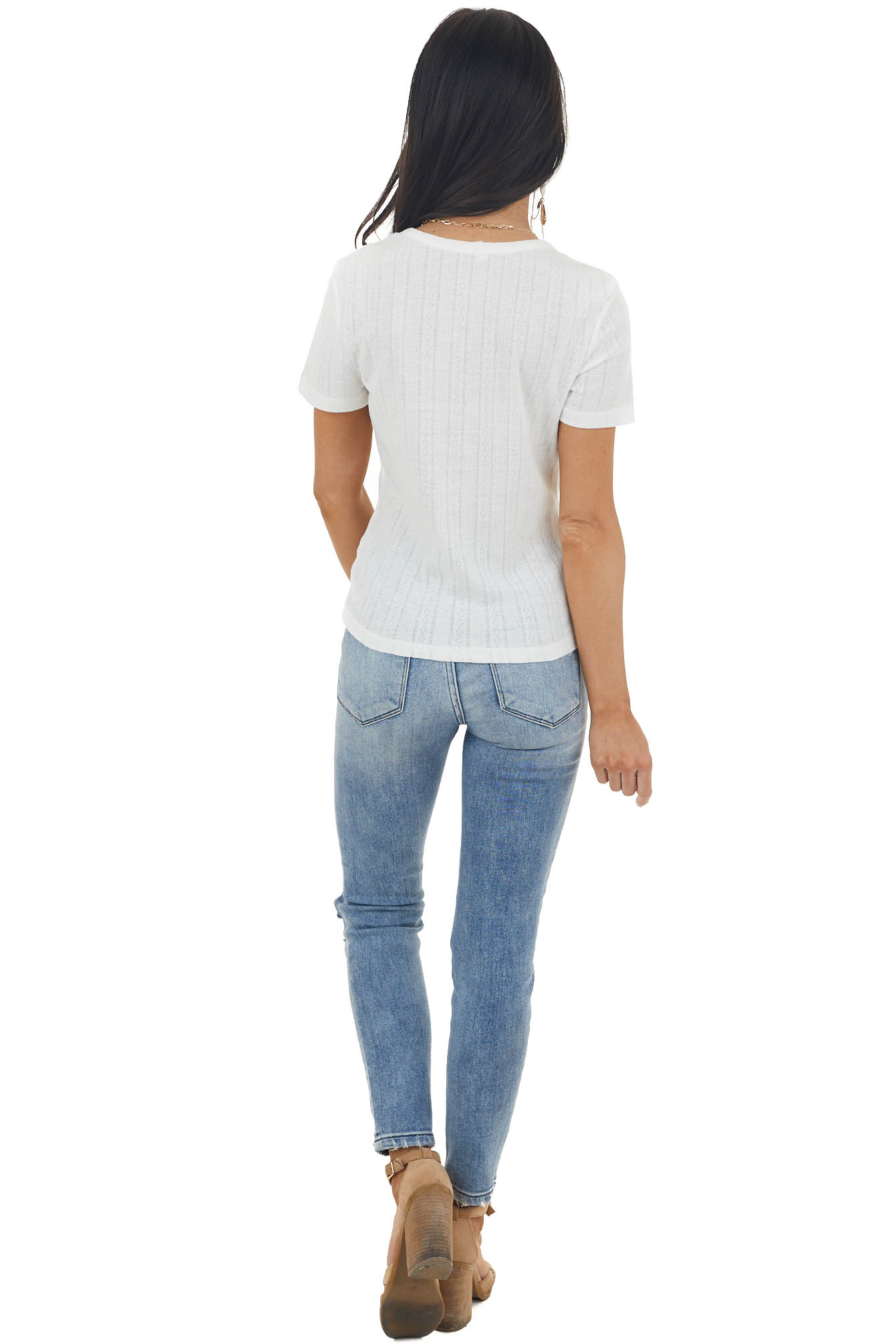 Ivory Textured Stretchy Knit Short Sleeve Henley Top