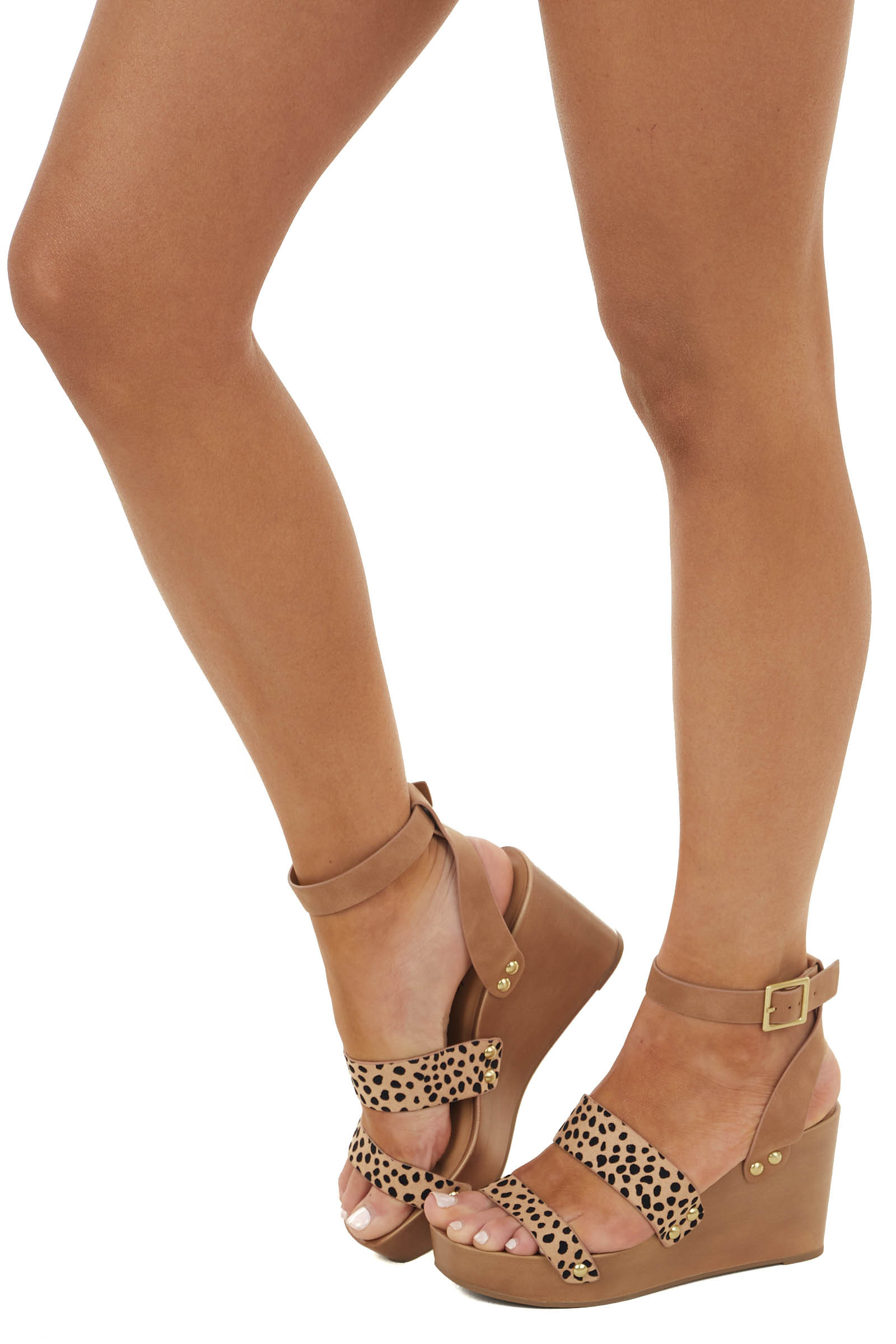 Cheetah Print Strappy Wedge Sandal with Adjustable Buckle