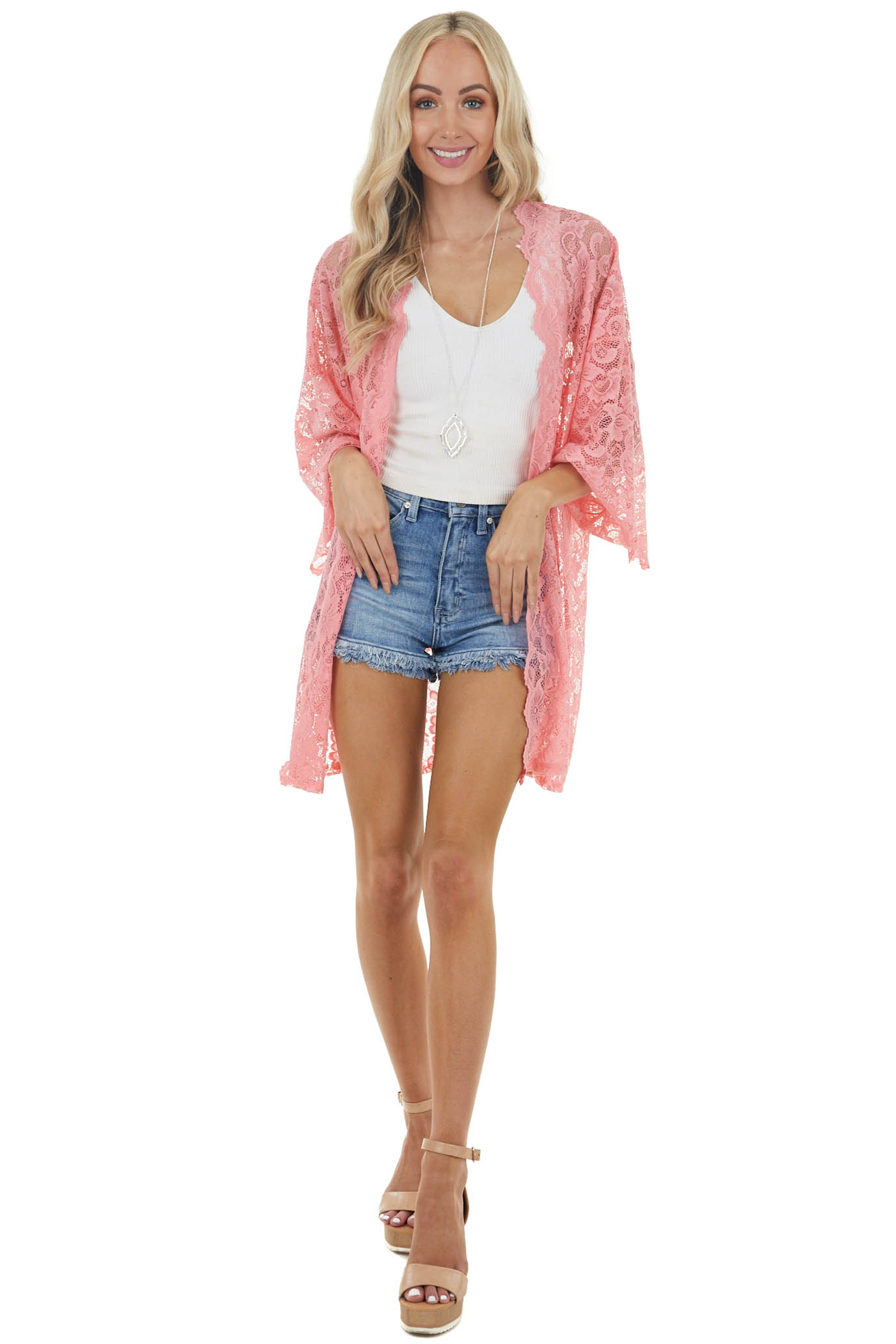 Bright Coral Sheer Lace Kimono with Scalloped Sleeves